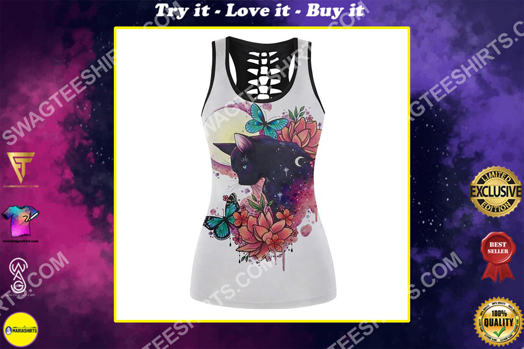 black cat with flower and moon full printing hollow tank top