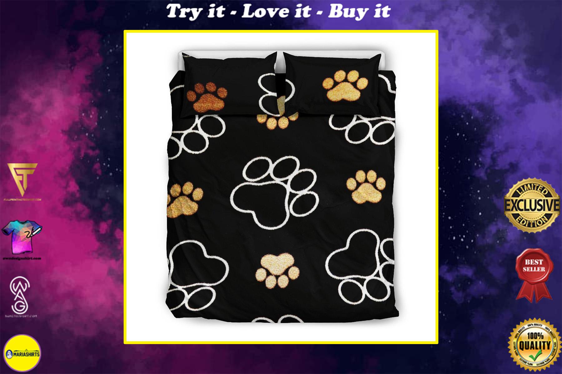 black dog paw all over printed bedding set