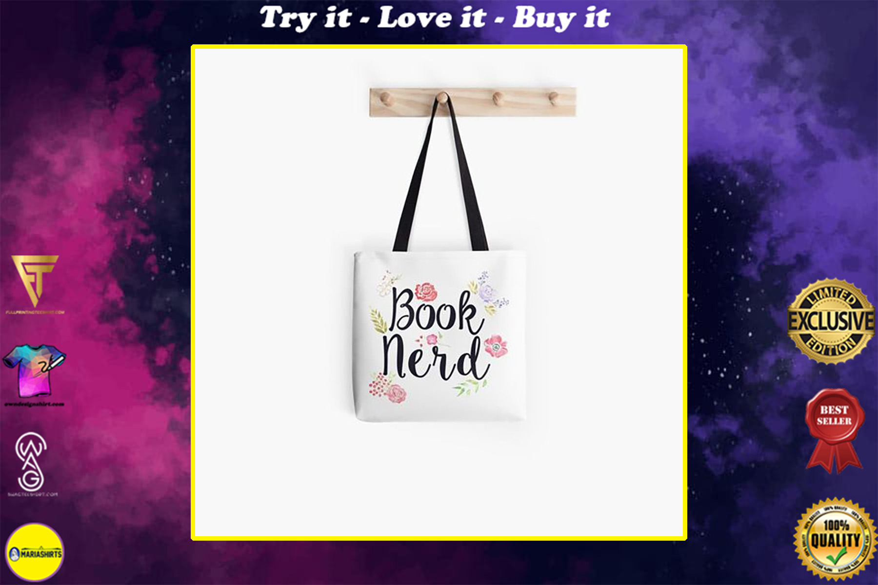 book lovers reading book nerd flower all over printed tote bag