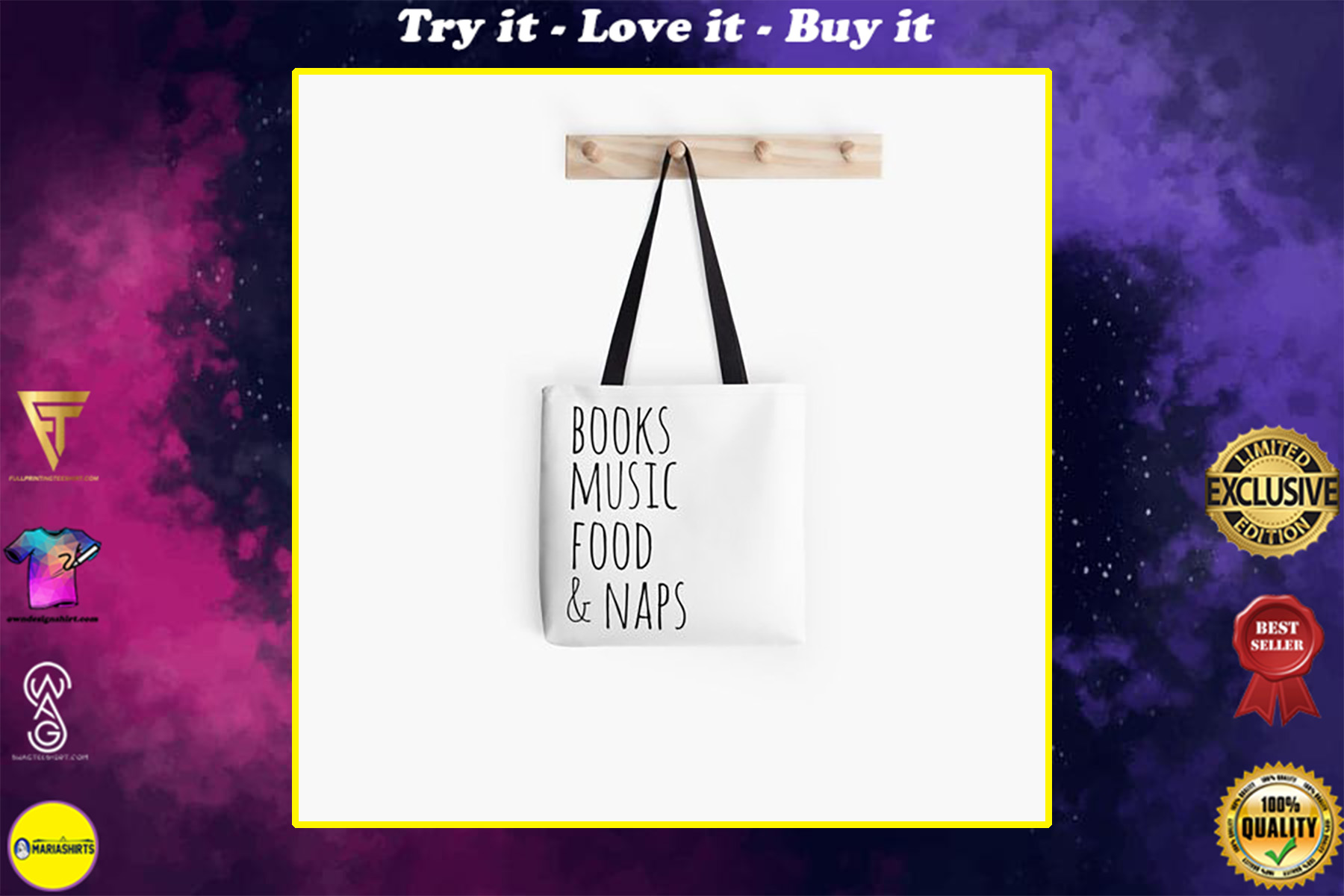book lovers reading books music food and naps all over printed tote bag