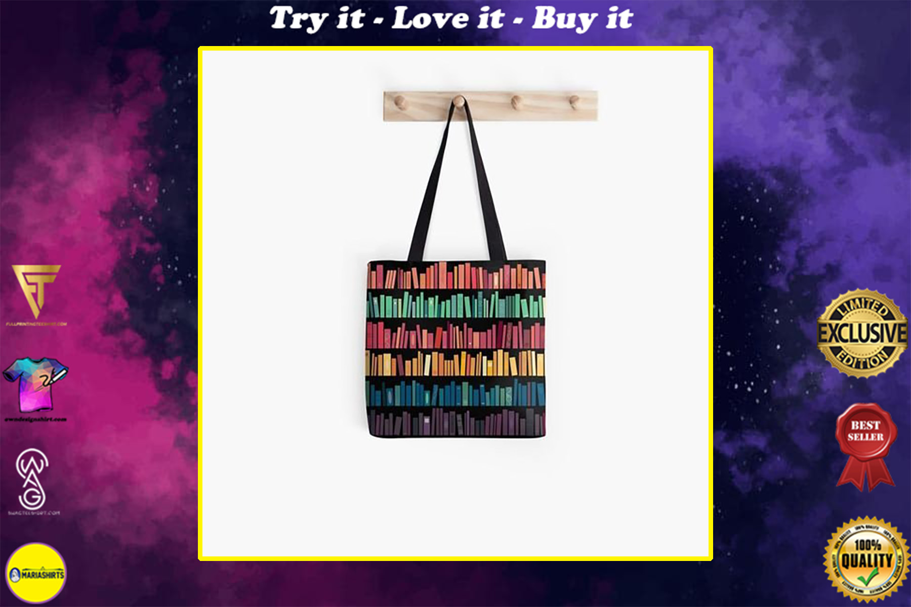 book lovers reading colorful library all over printed tote bag