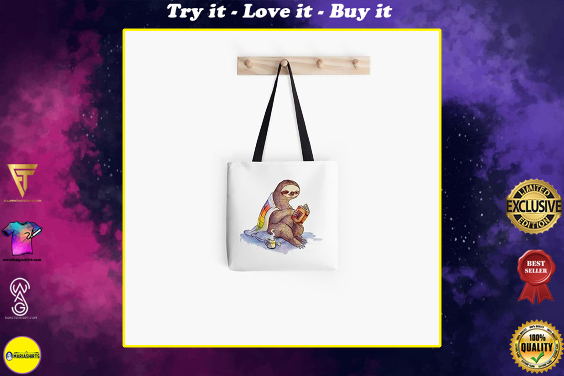 book lovers reading cozy sloth reads book all over printed tote bag