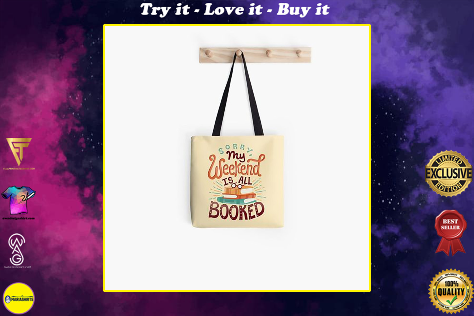 book lovers reading sorry my weekend is all booked all over printed tote bag