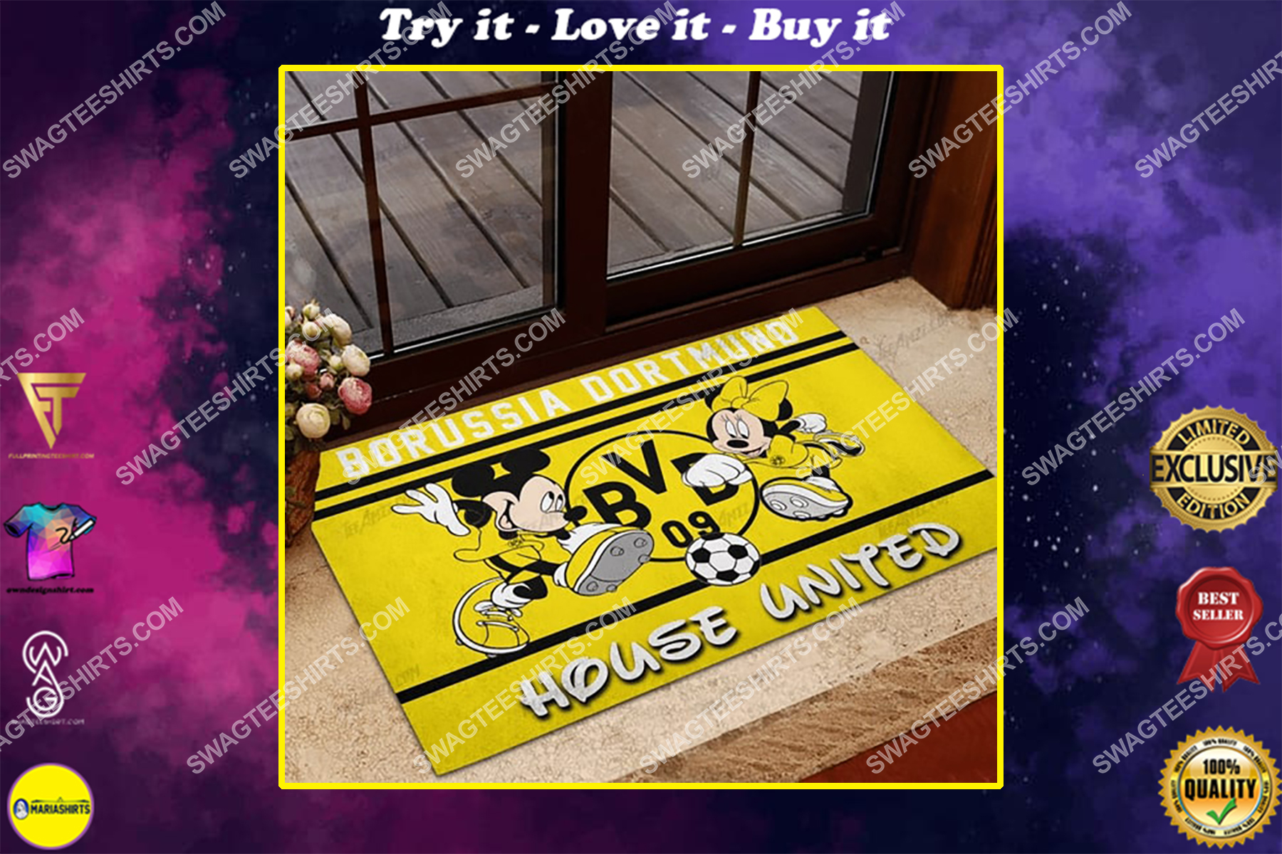 borussia dortmund house united mickey mouse and minnie mouse doormat