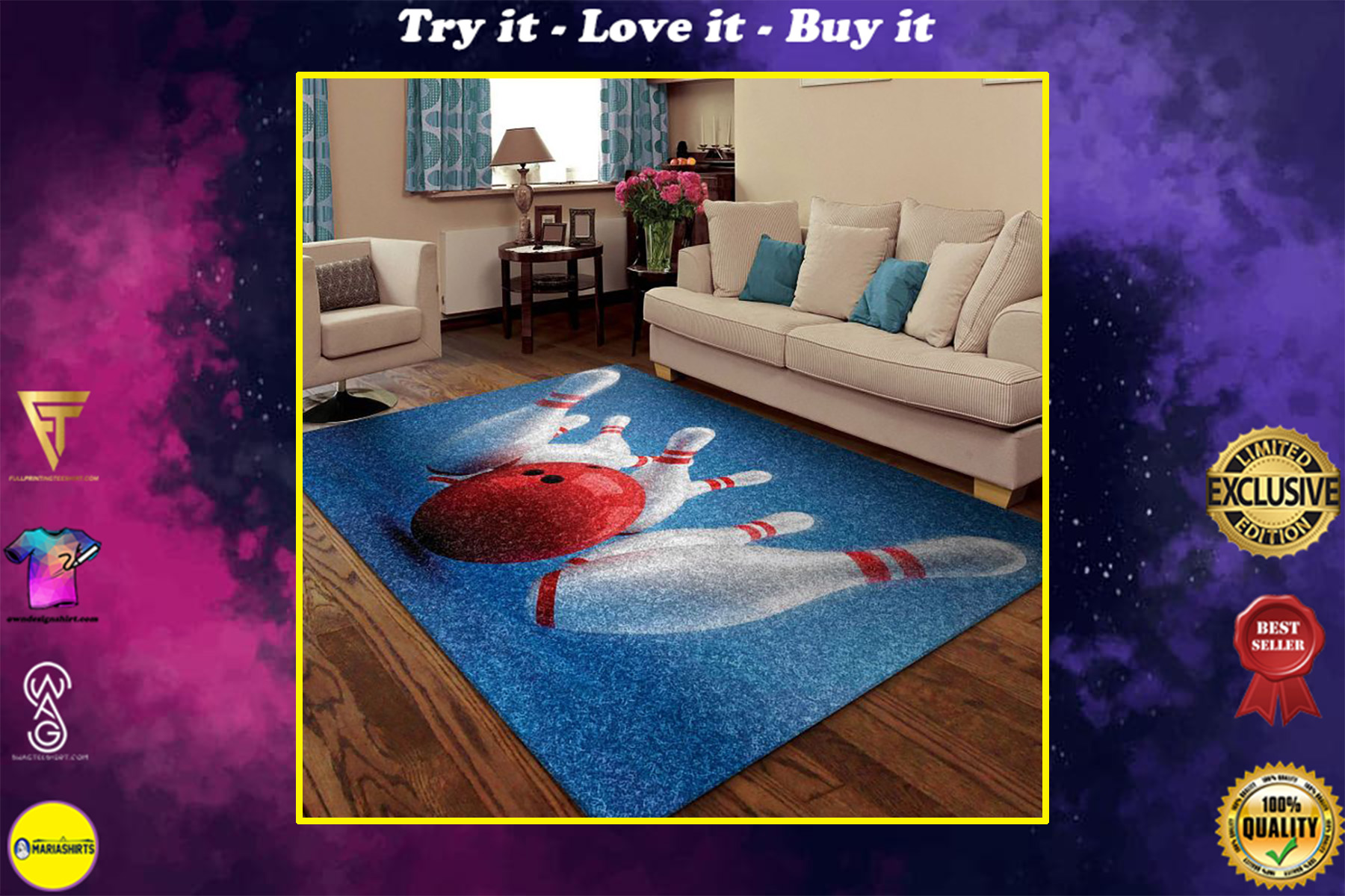 bowling pins all over printed rug
