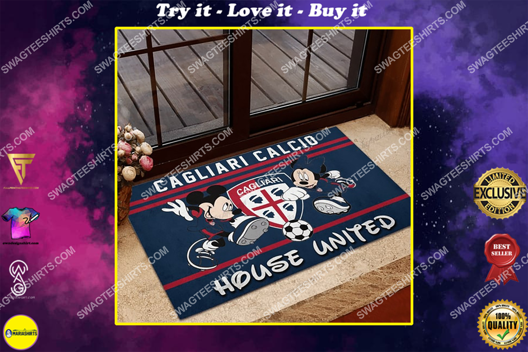cagliari calcio house united mickey mouse and minnie mouse doormat