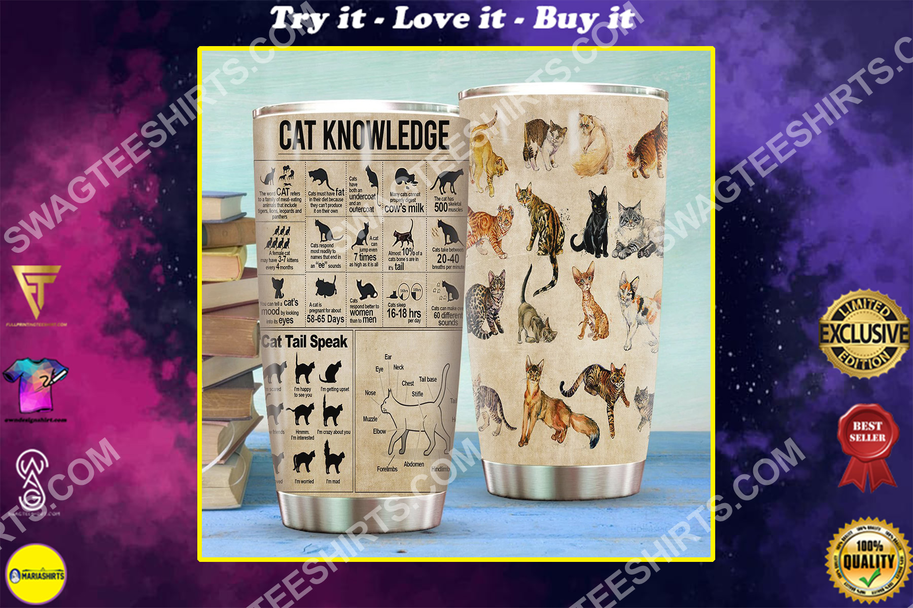 cat knowledge all over printed stainless steel tumbler