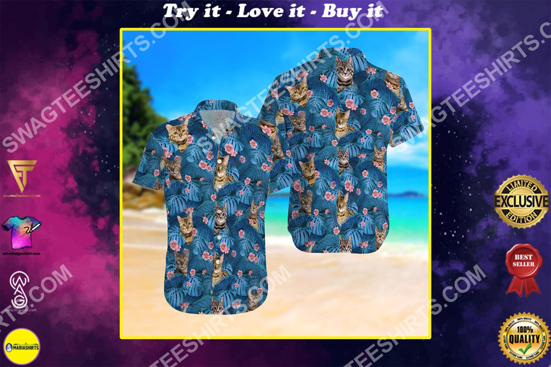 cat summer vacation all over printed hawaiian shirt