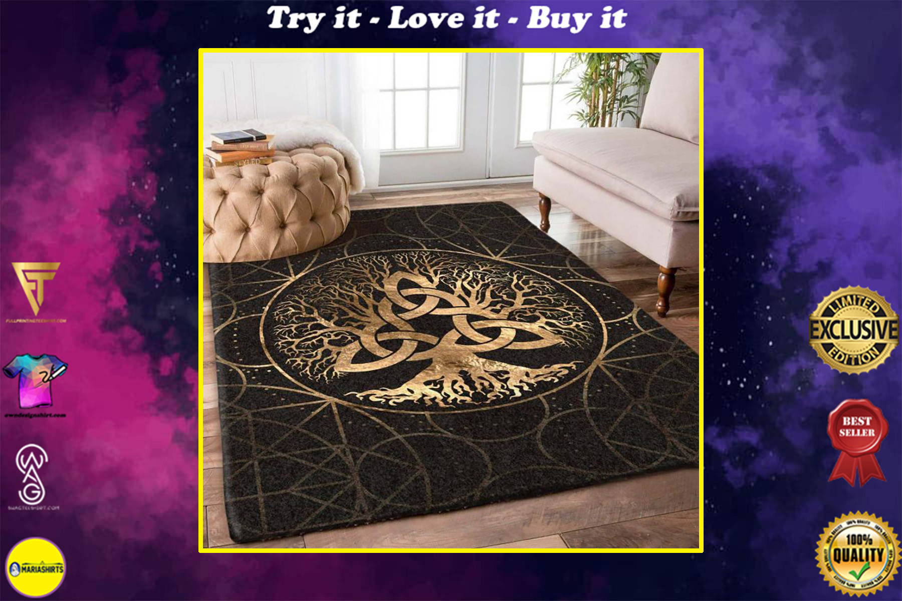celtic tree of life all over printed rug