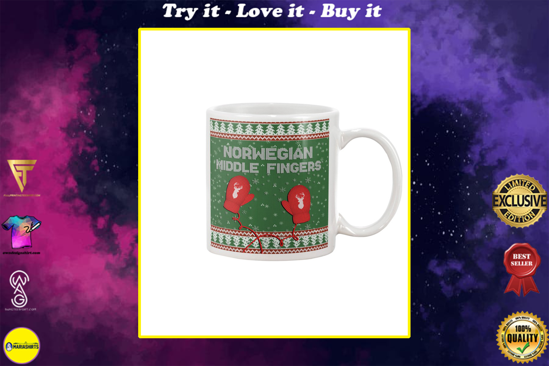 christmas norwegian middle fingers mug