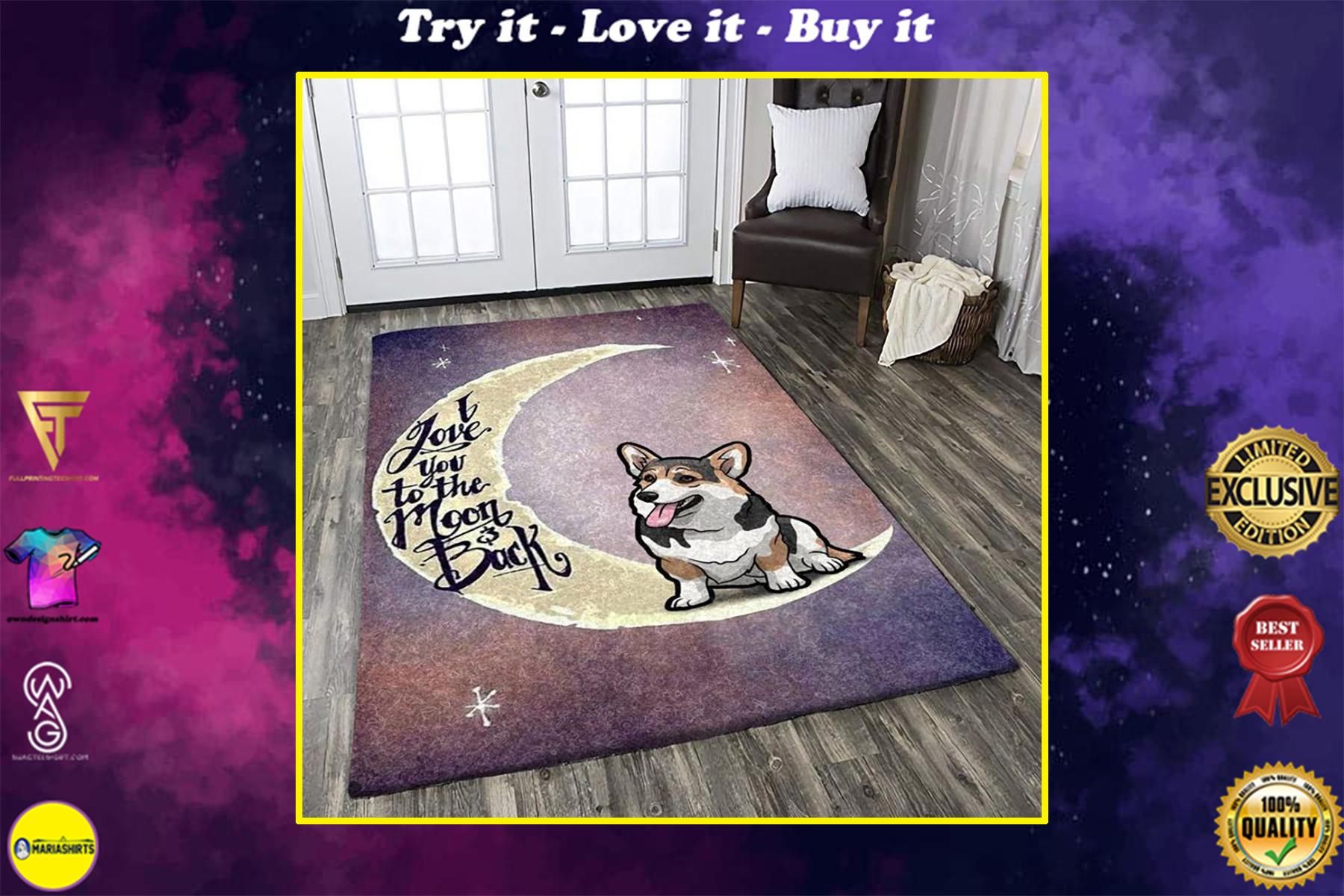 corgi i love you to the moon and back all over printed rug