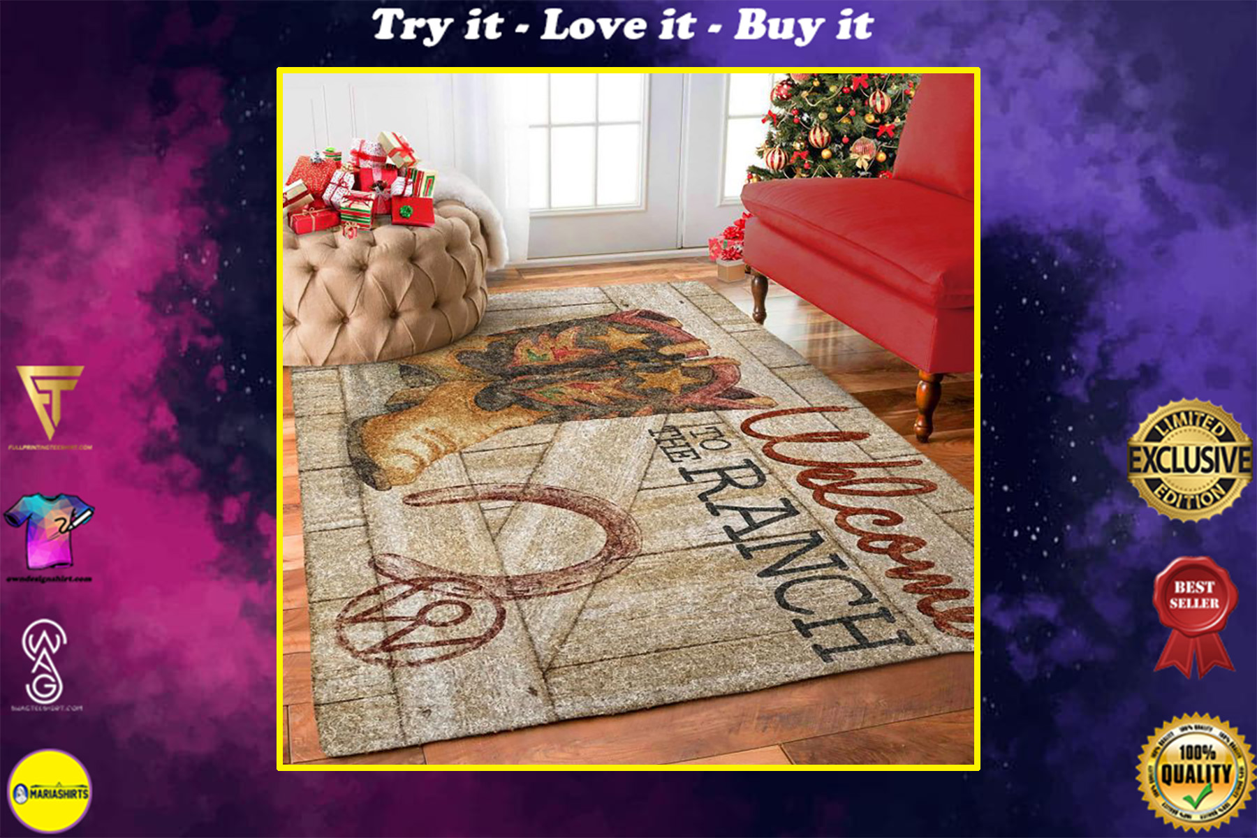 cowboy boots welcome to the ranch all over printed rug