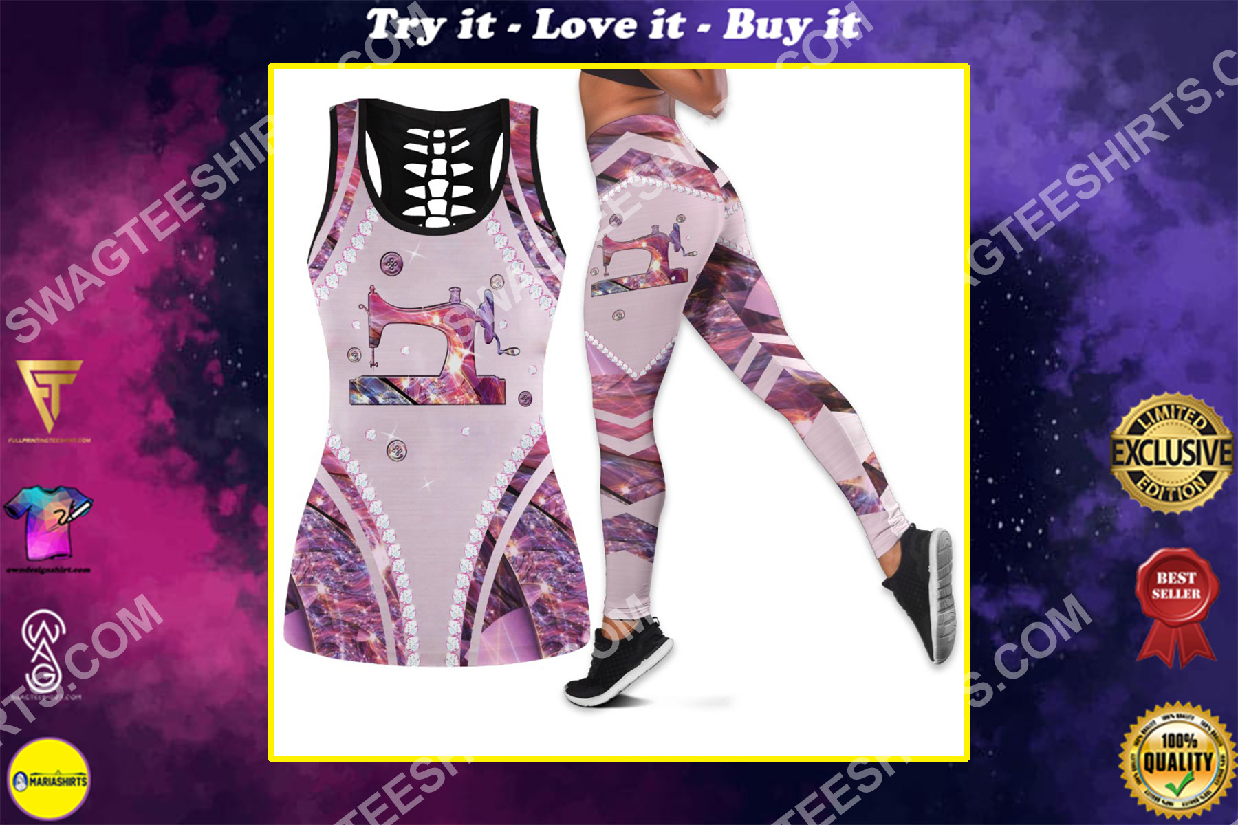 crochet sewing machine all over printed set sports outfit