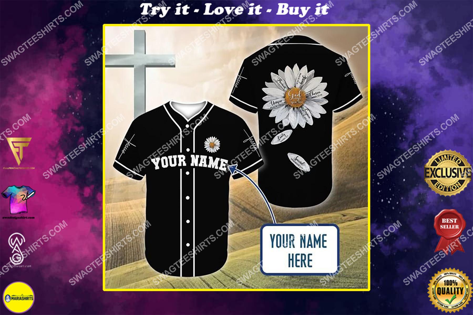 custom name Jesus and daisy flower all over printed baseball shirt