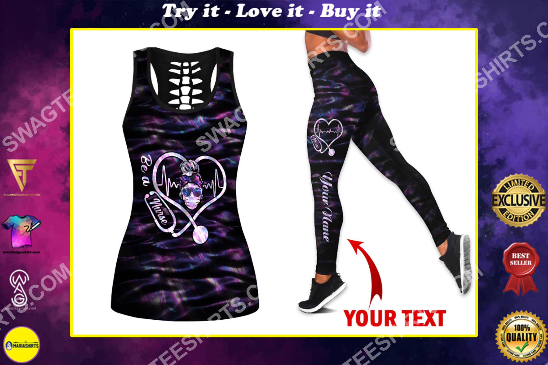 custom name be a nurse all over printed set sports outfit
