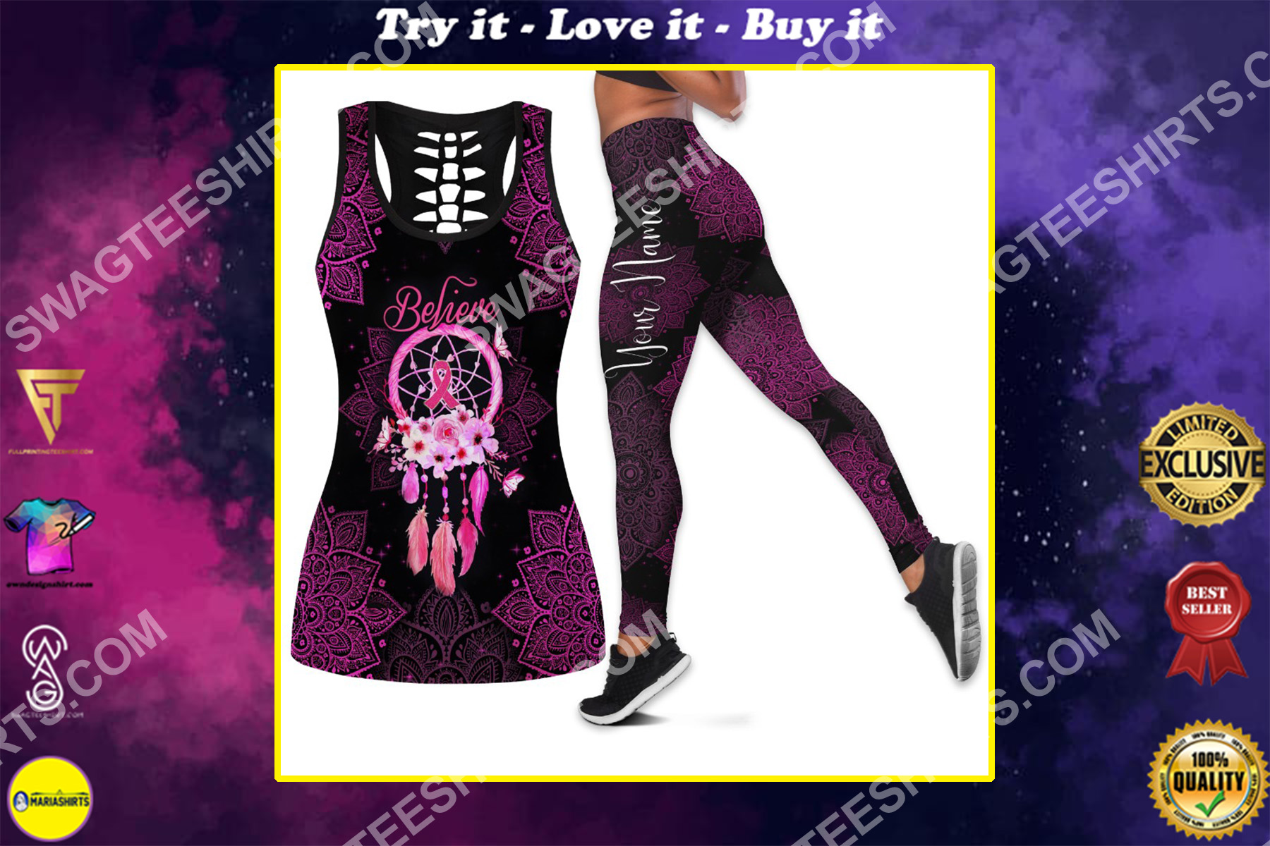 custom name believe dream catcher breast cancer all over printed set sports outfit