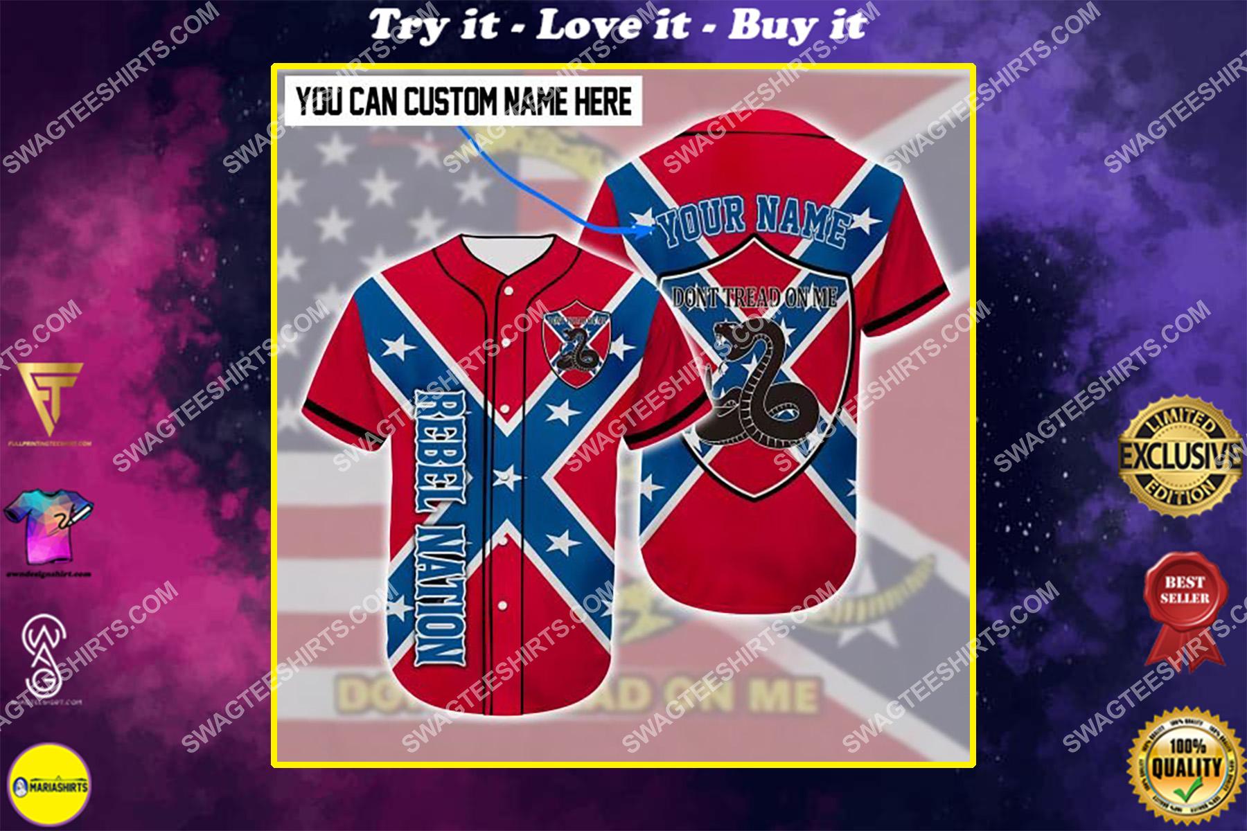 custom name don't tread on me all over printed baseball shirt
