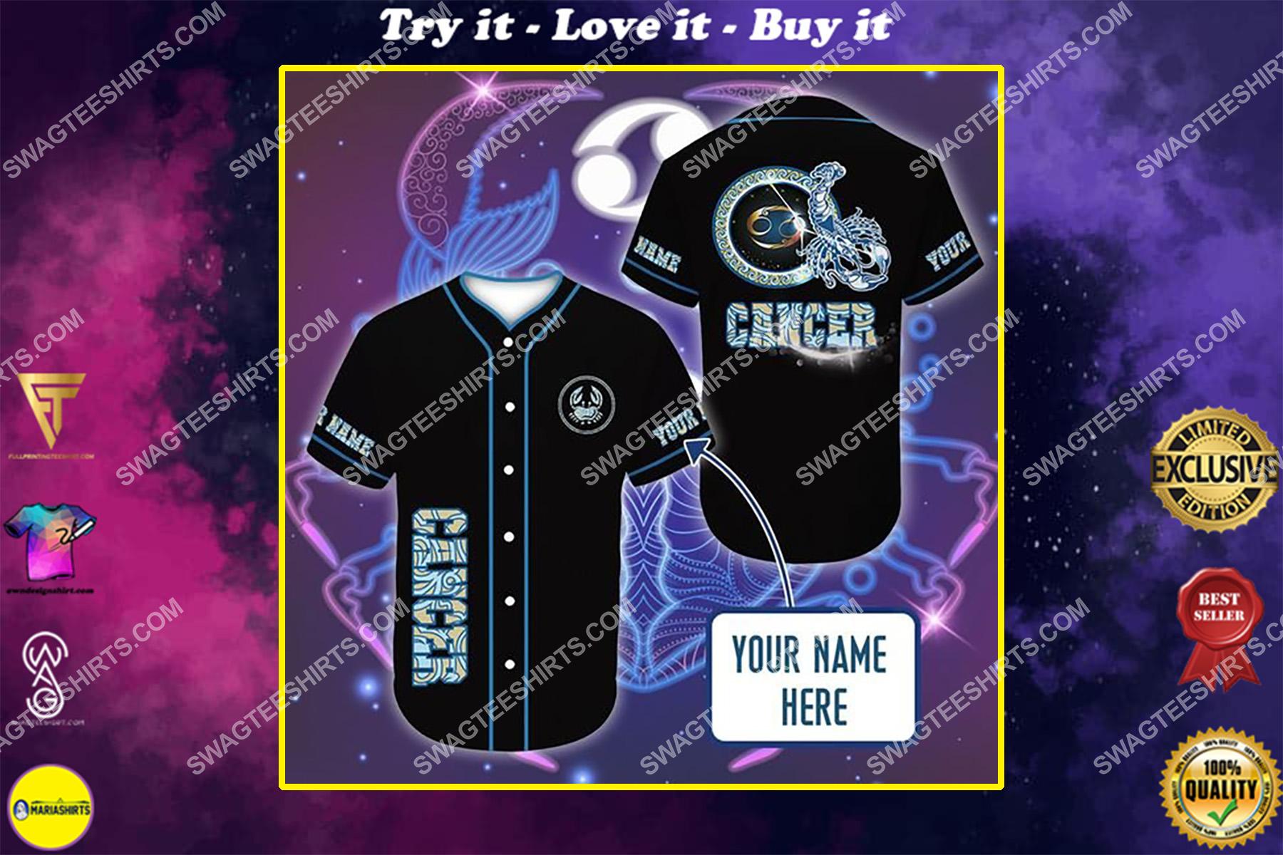 custom name i am a cancer zodiac all over printed baseball shirt