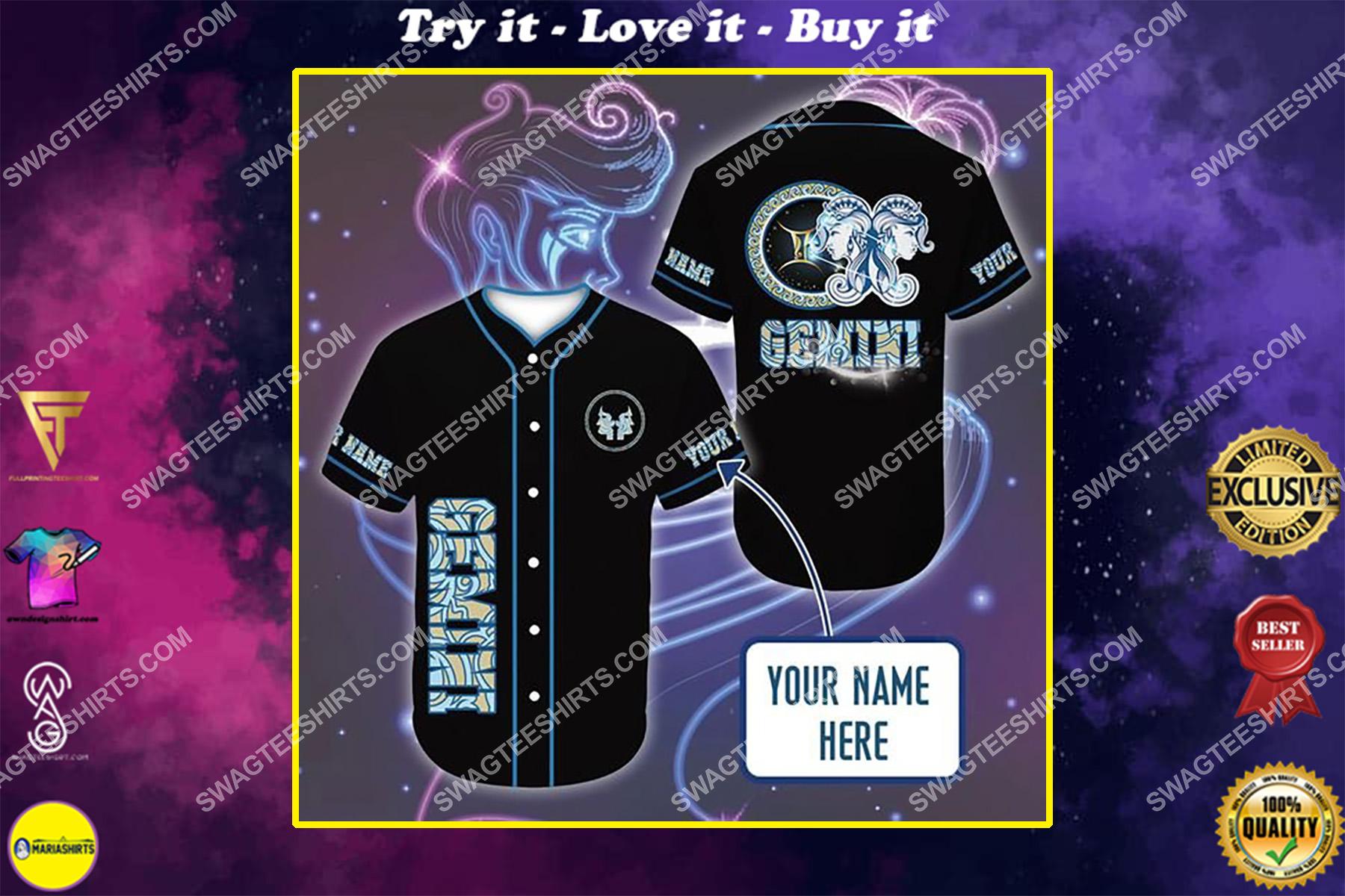 custom name i am a gemini zodiac all over printed baseball shirt