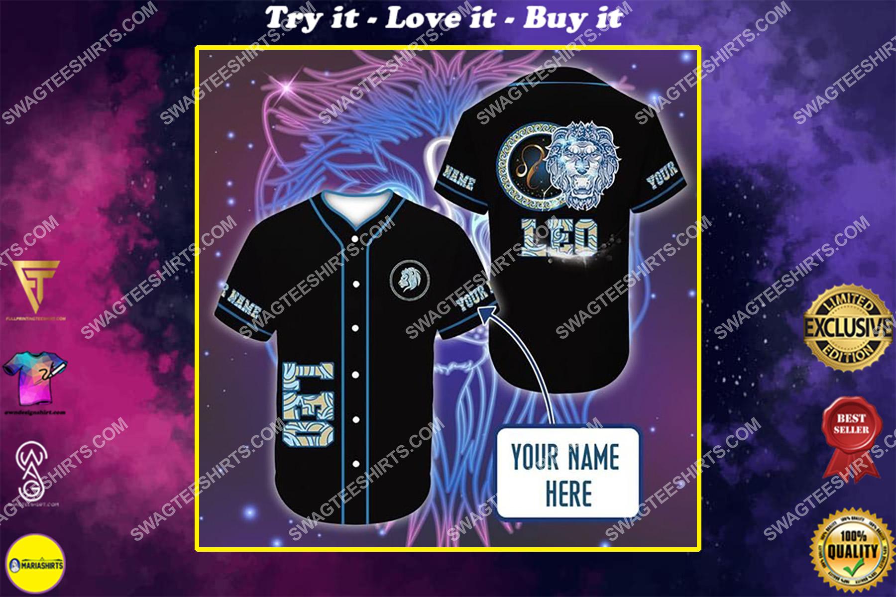 custom name i am a leo zodiac all over printed baseball shirt