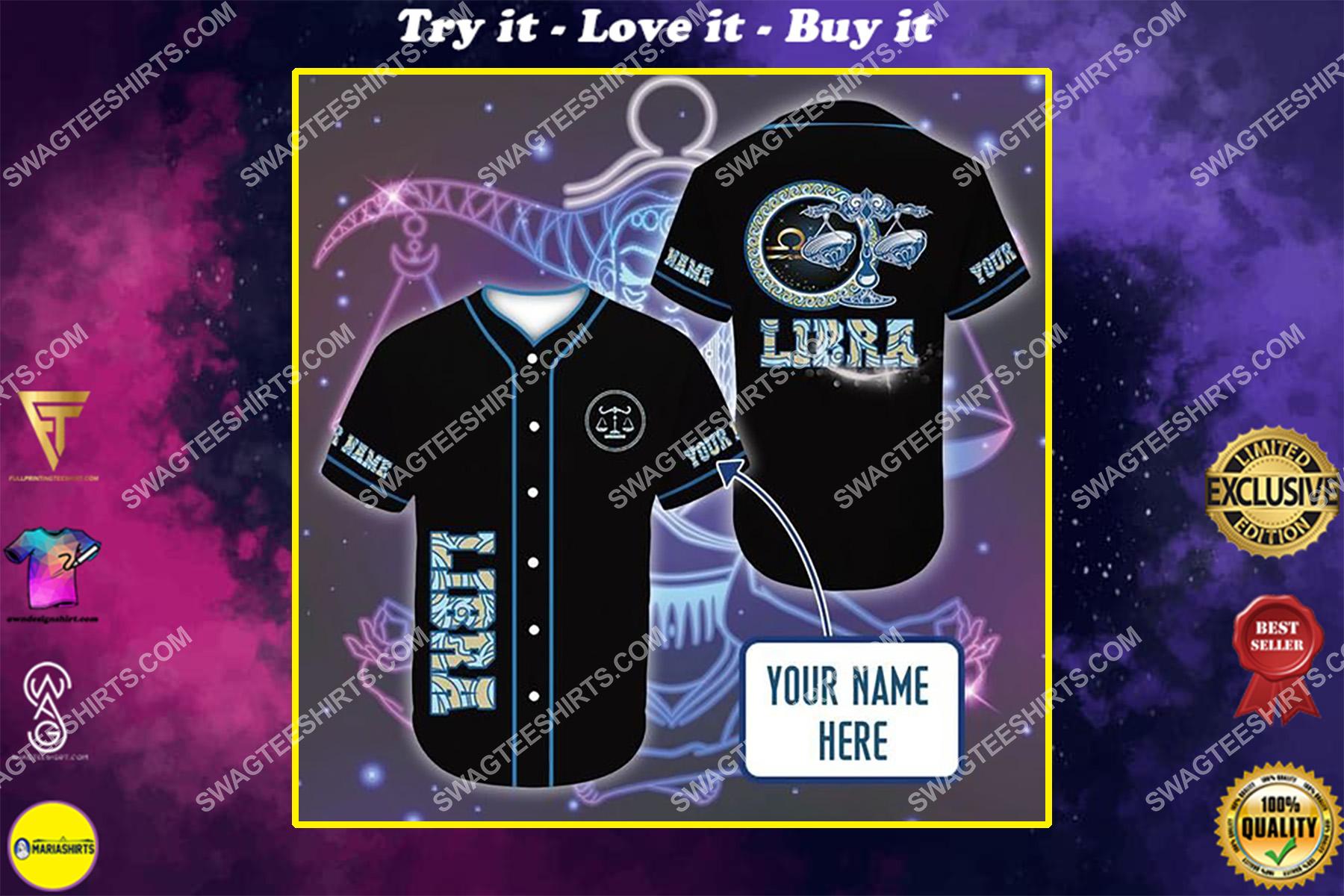 custom name i am a libra zodiac all over printed baseball shirt