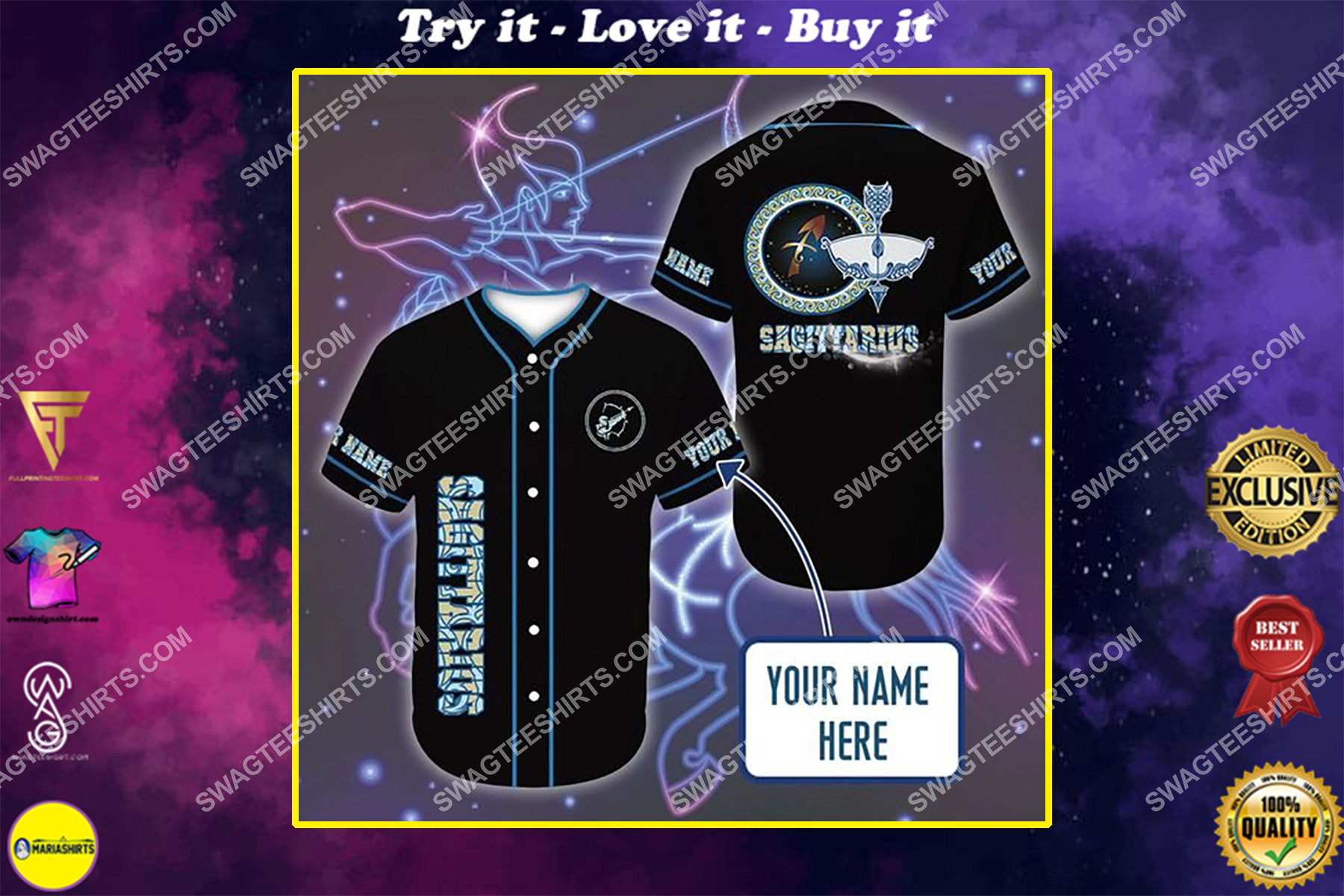 custom name i am a sagittarius zodiac all over printed baseball shirt