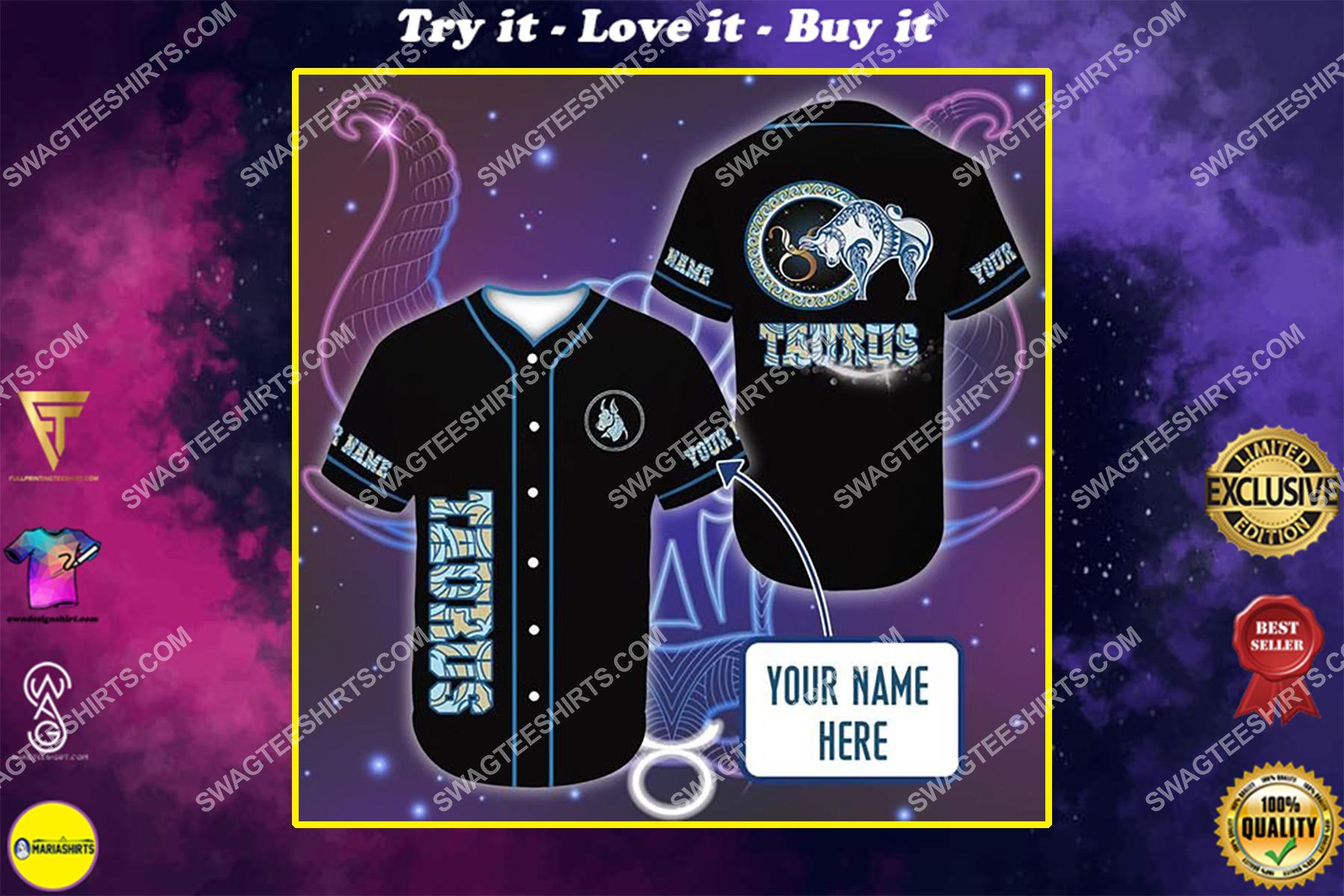custom name i am a taurus zodiac all over printed baseball shirt
