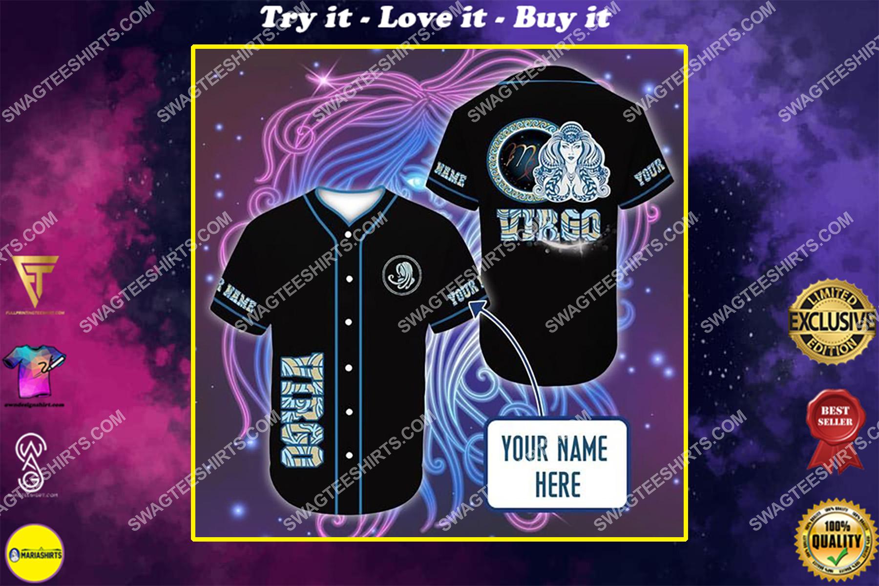 custom name i am a virgo zodiac all over printed baseball shirt
