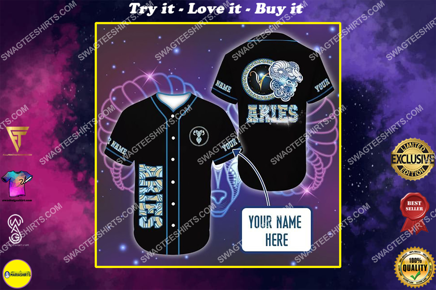 custom name i am an aries zodiac all over printed baseball shirt