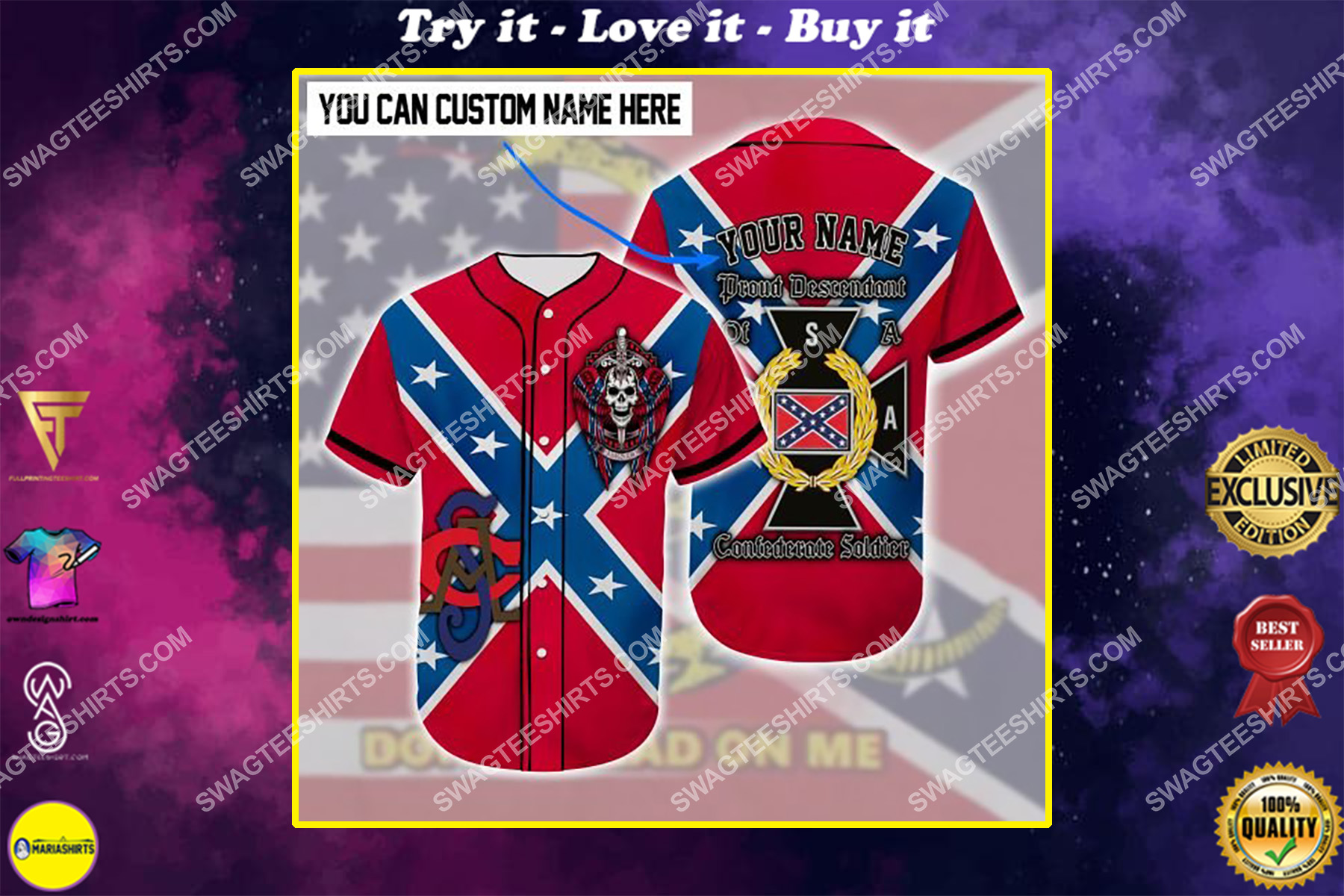 custom name proud descendant of a confederate soldier all over printed baseball shirt