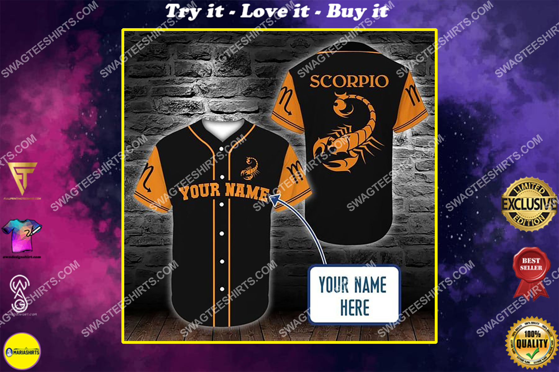 custom name scorpio zodiac birthday gift all over printed baseball shirt