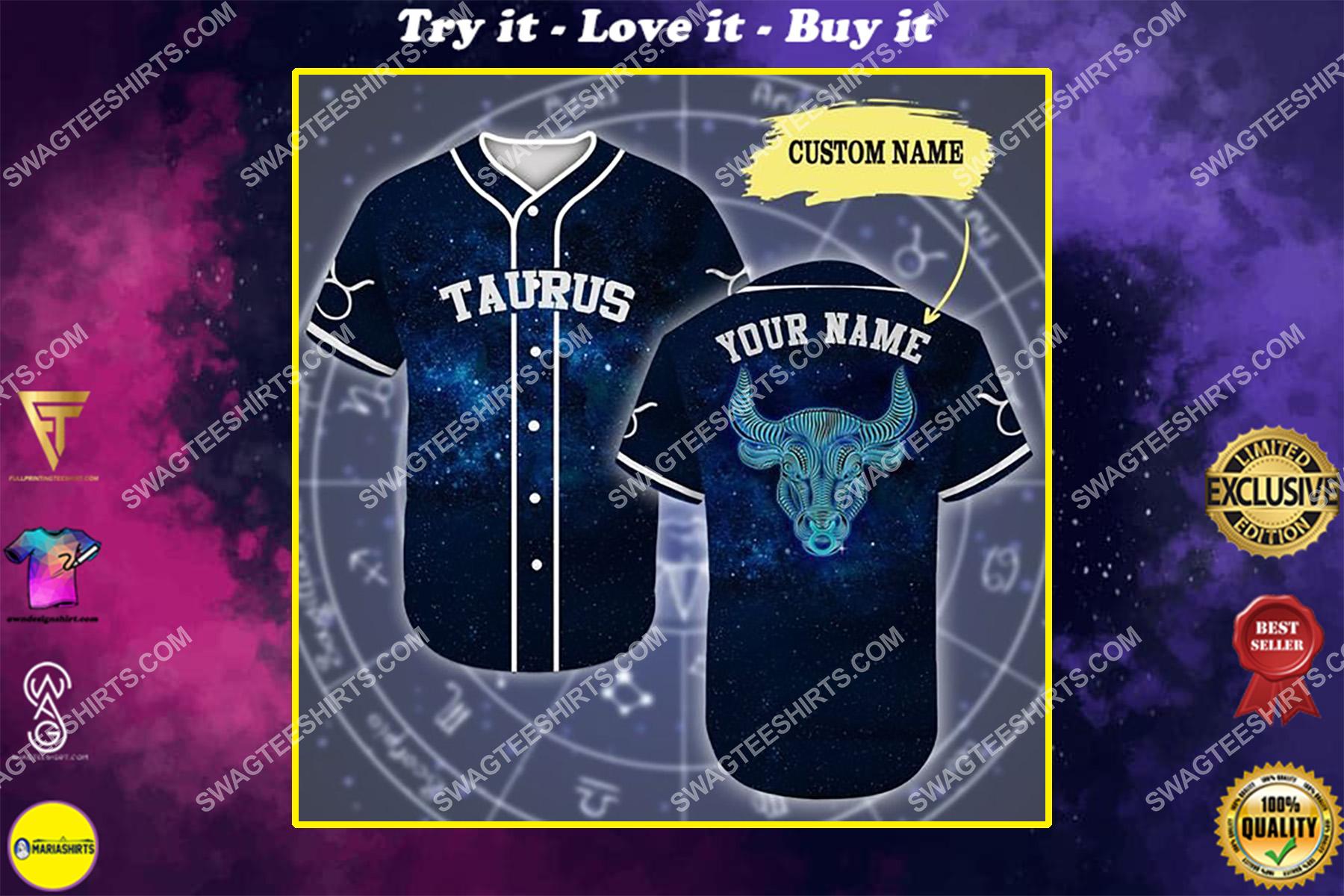 custom name taurus is mysterious zodiac all over printed baseball shirt