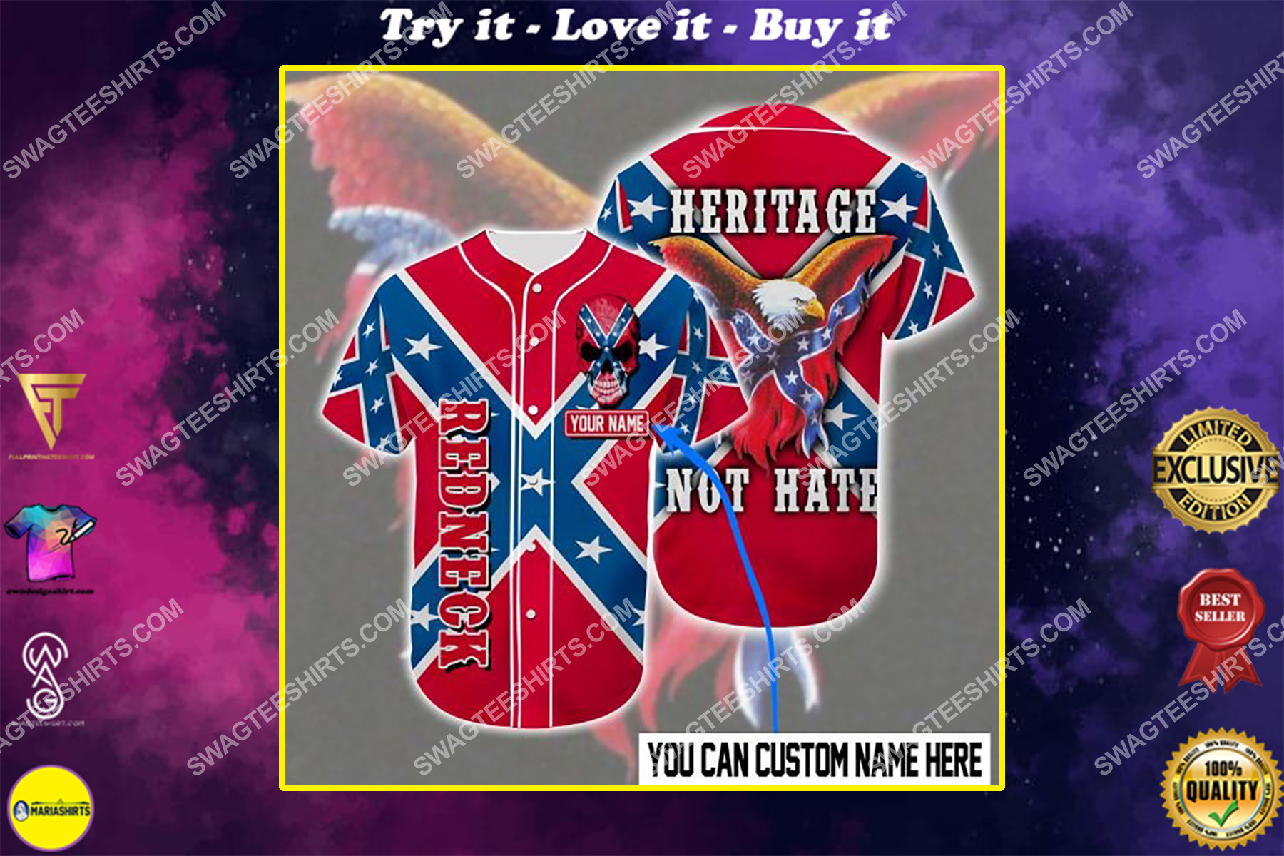 custom name the flags of the confederate heritage not hate all over printed baseball shirt