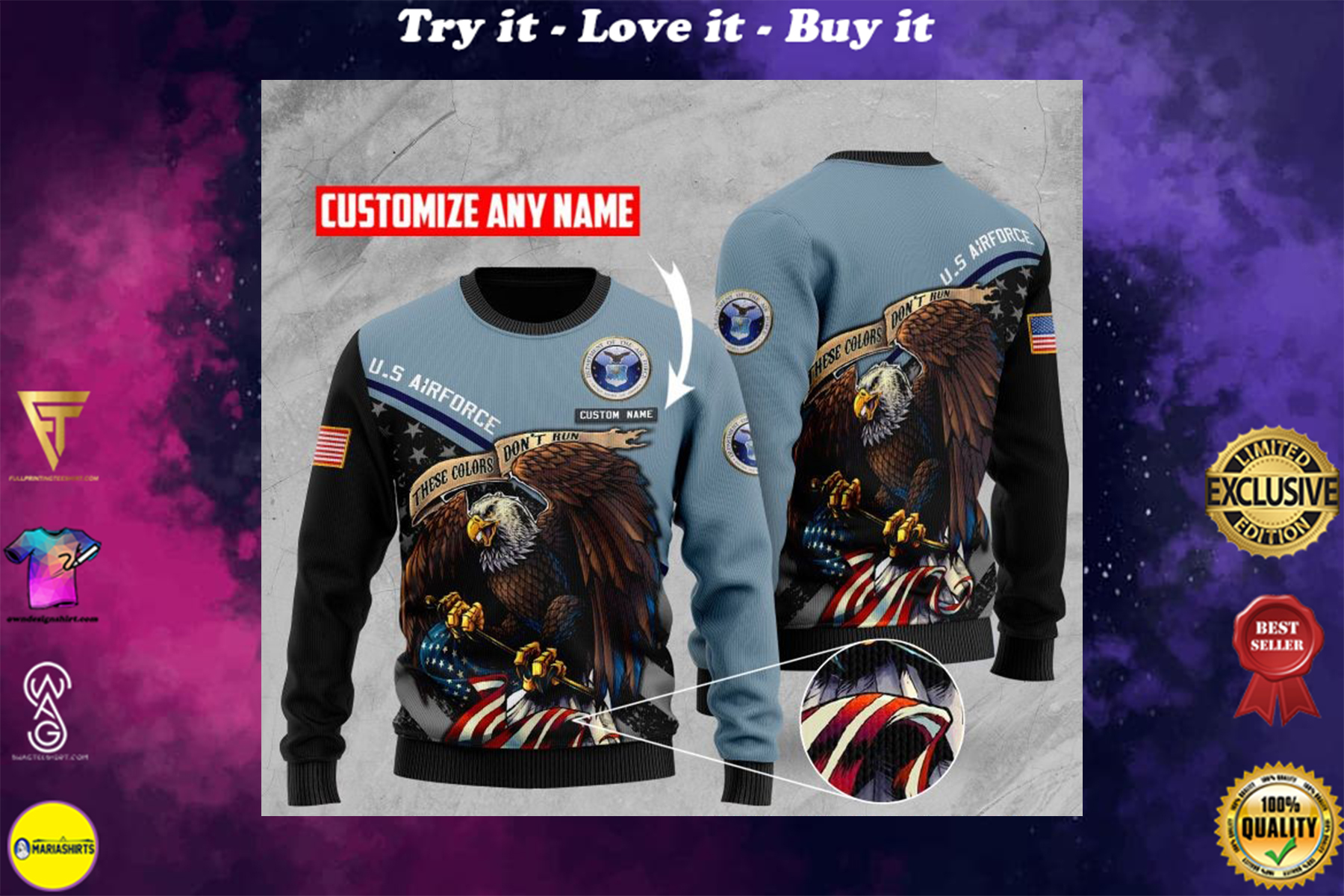 custom name united states airforce these colors dont run ugly sweater