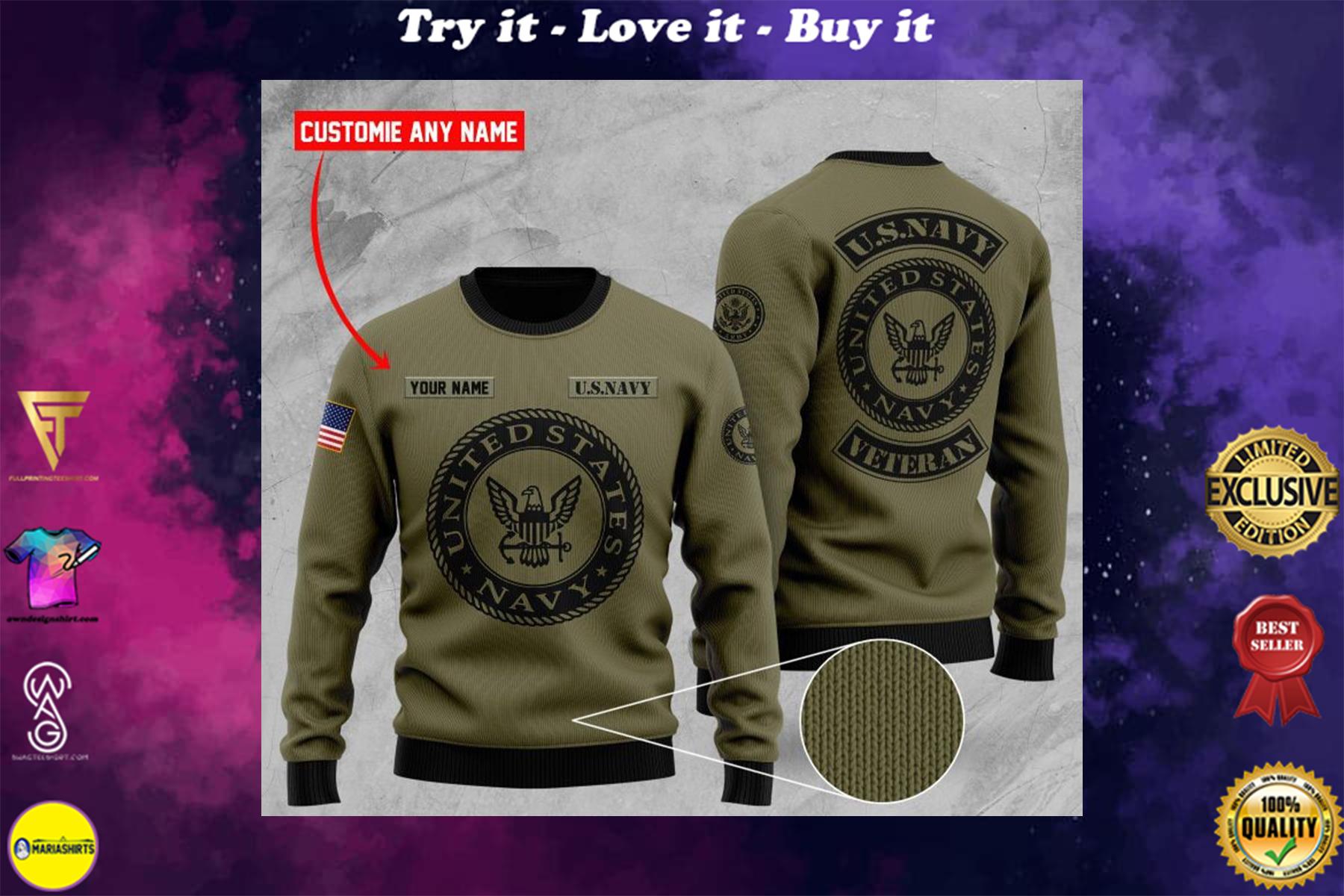 custom name united states navy veteran ugly sweater