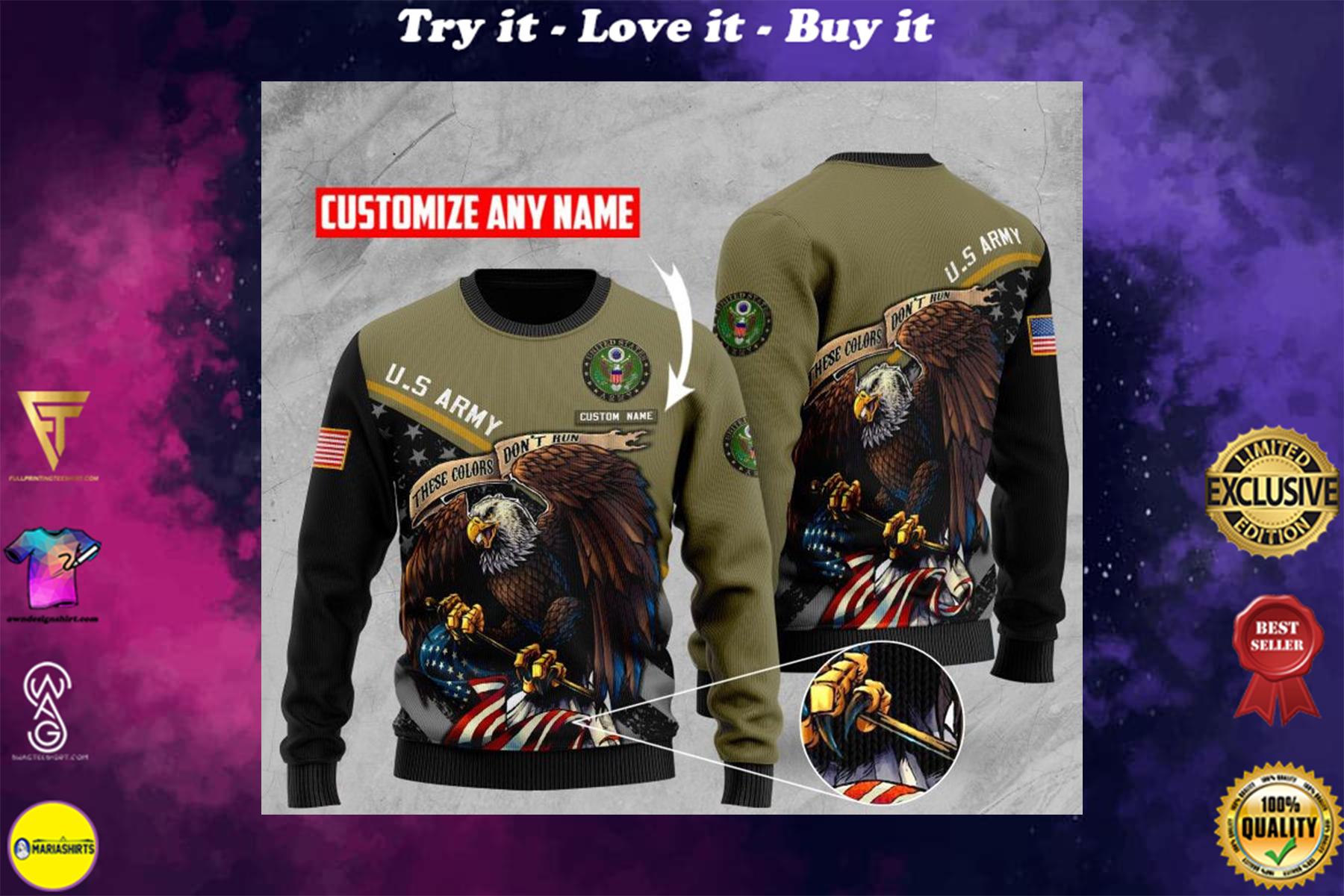 custom name us army bald eagle american flag ugly sweater