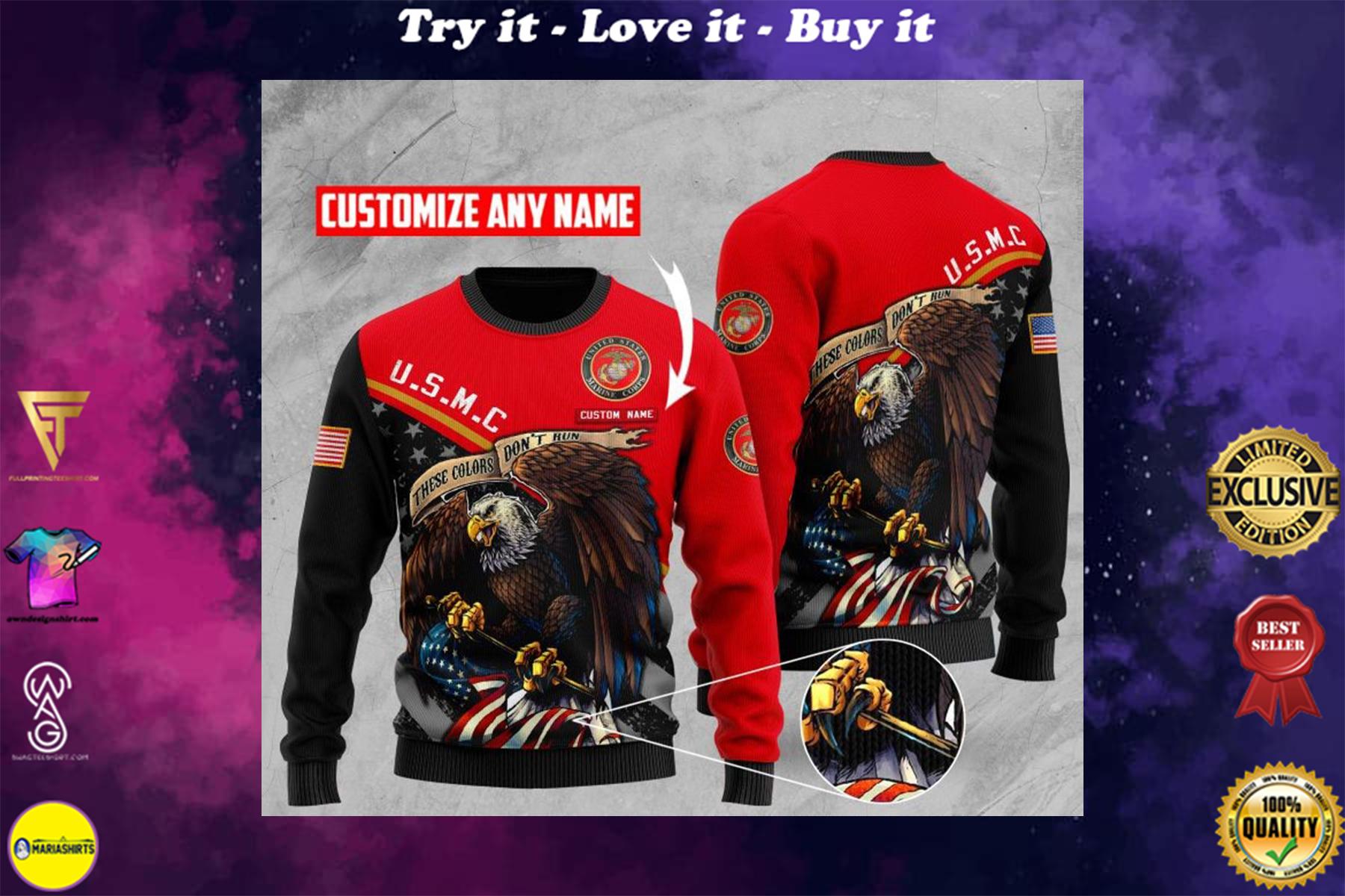 custom name us marine corps bald eagle american flag ugly sweater