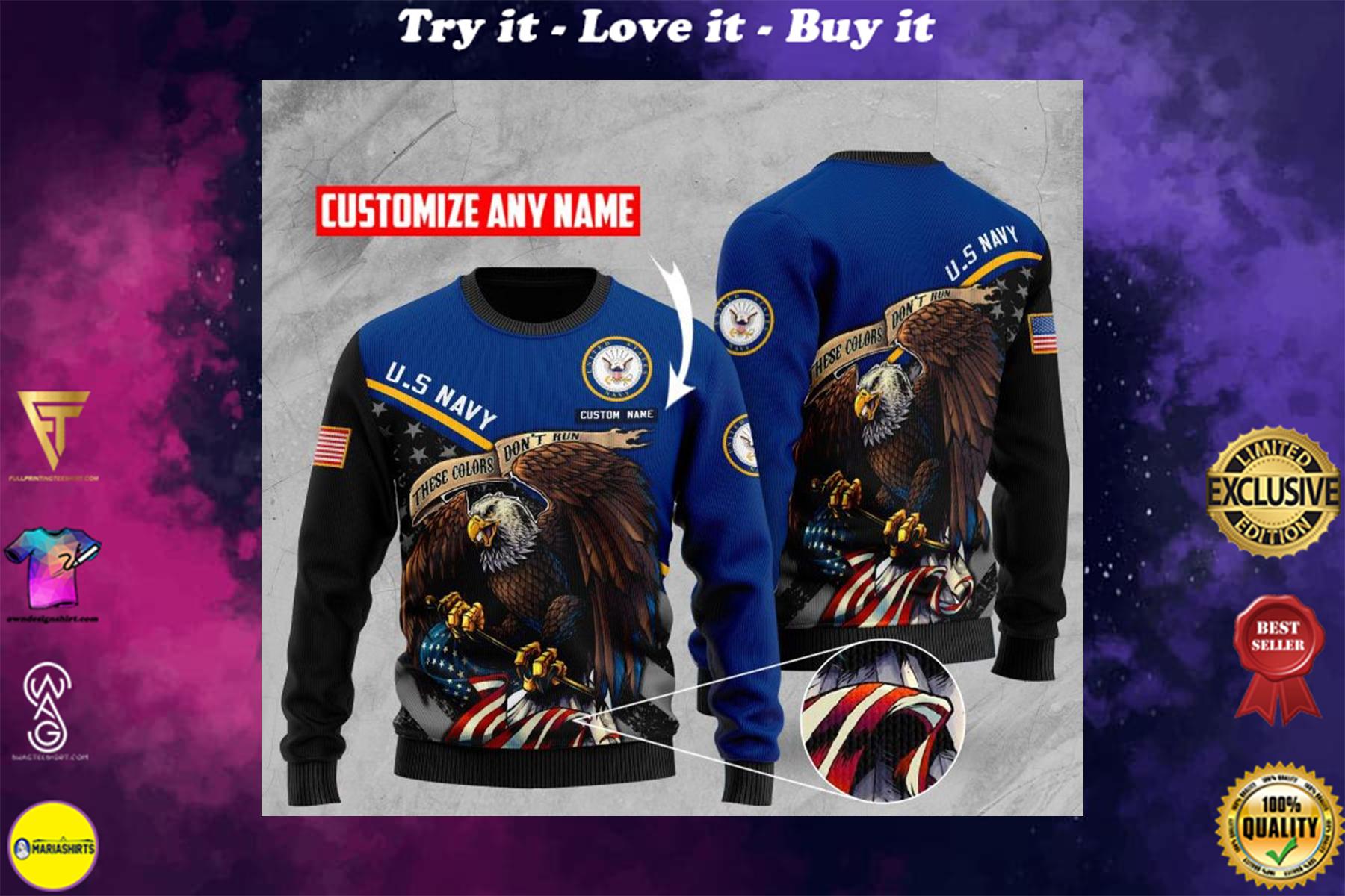 custom name us navy bald eagle american flag ugly sweater