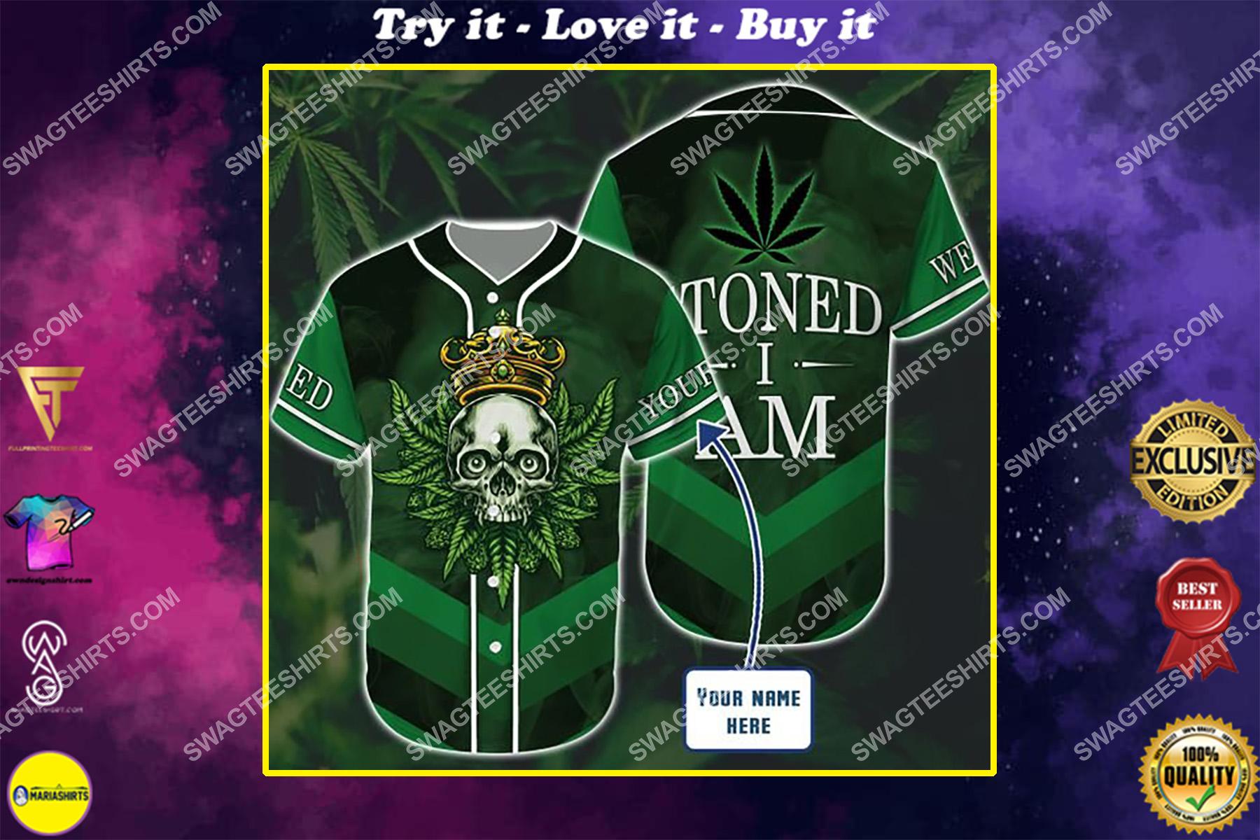custom name weed leaf stoned i am all over printed baseball shirt
