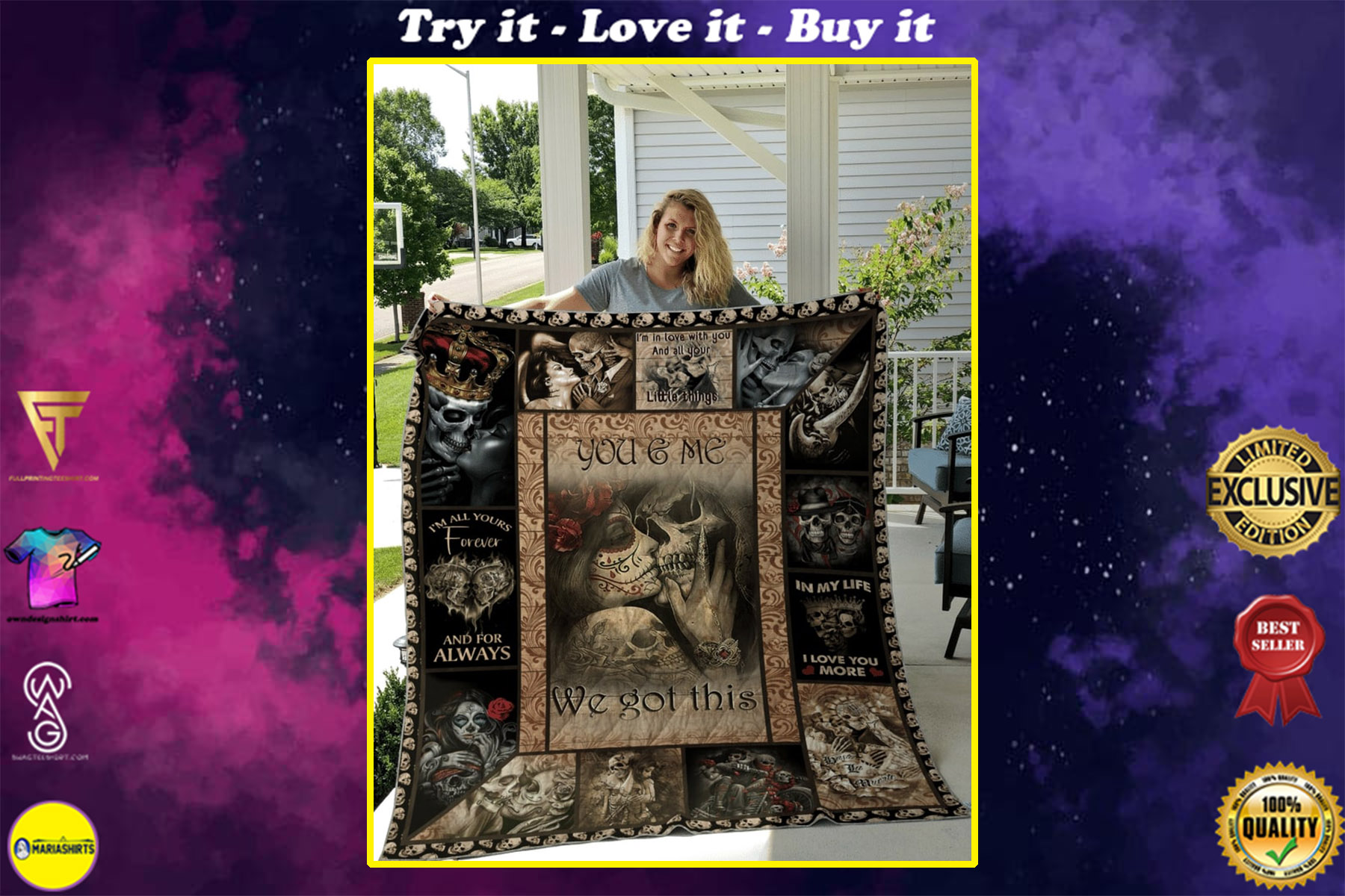 custome name skull couple you and me we got this quilt