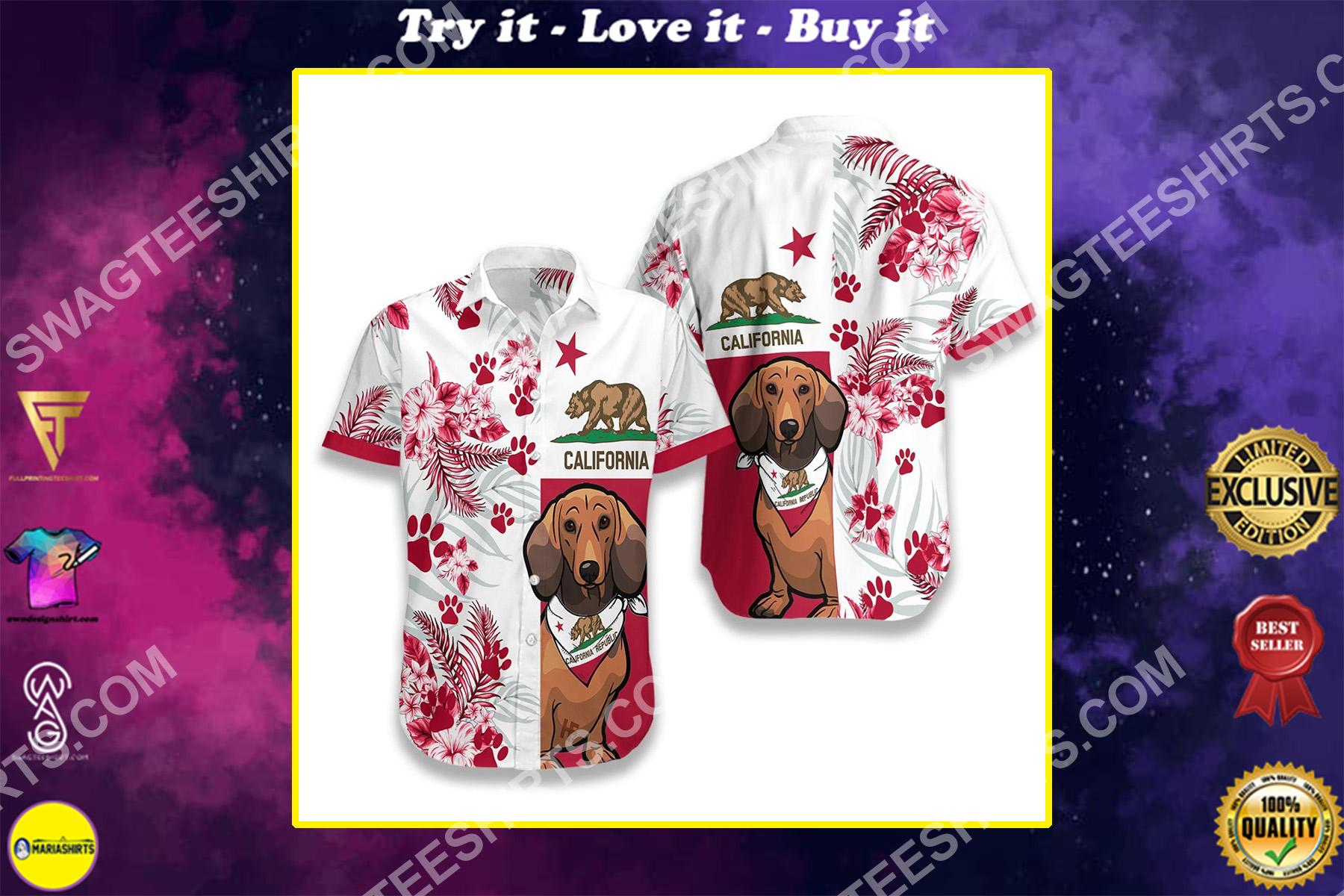 dachshund dog lover california flag all over printed hawaiian shirt