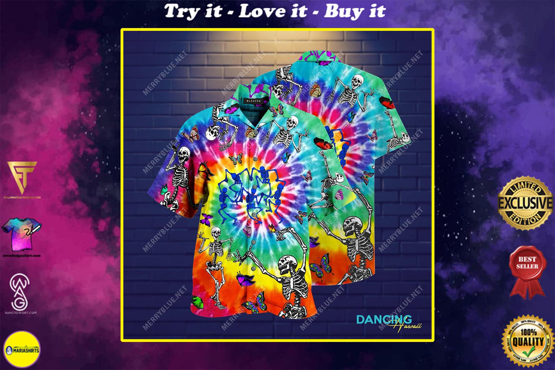dancing skull colorfull all over printed hawaiian shirt