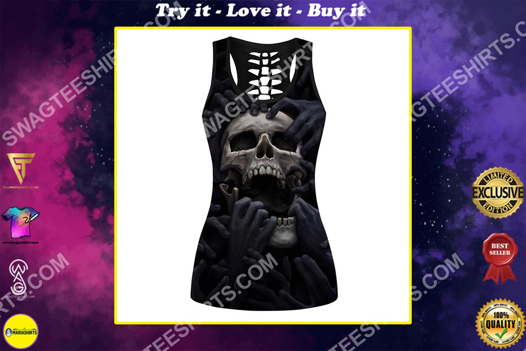 dark skull scream full printing hollow tank top