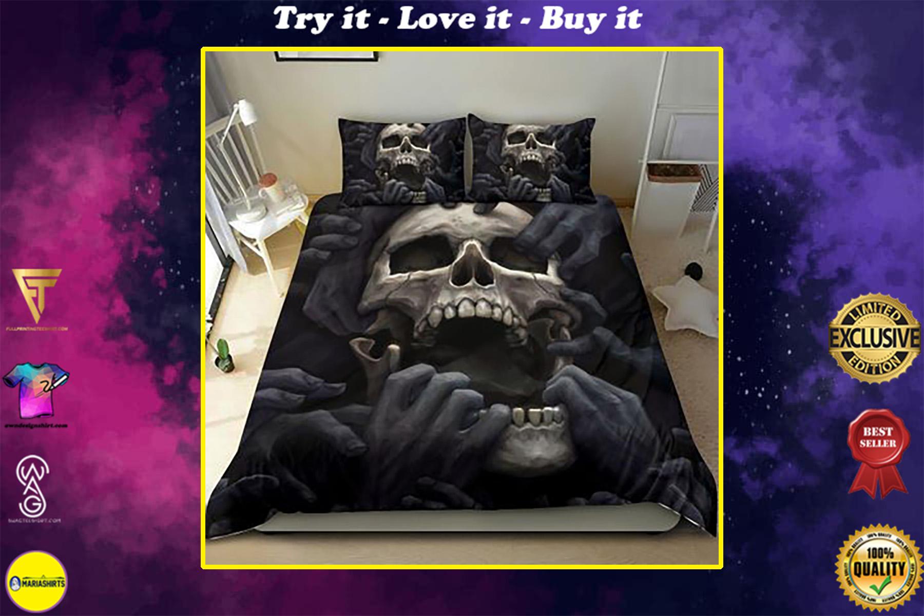 dark skull screaming all over print bedding set