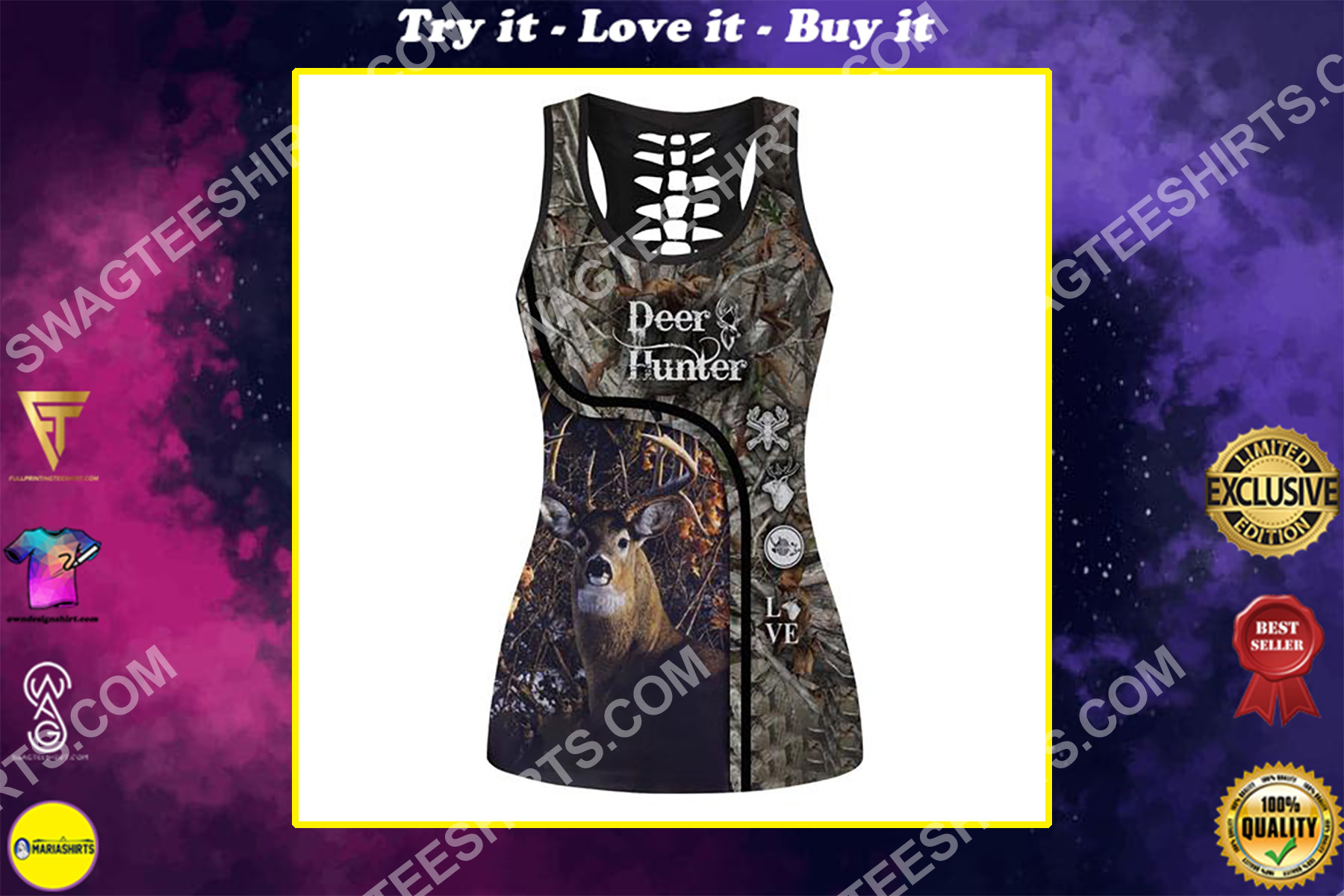 deer hunter in the forest full printing hollow tank top