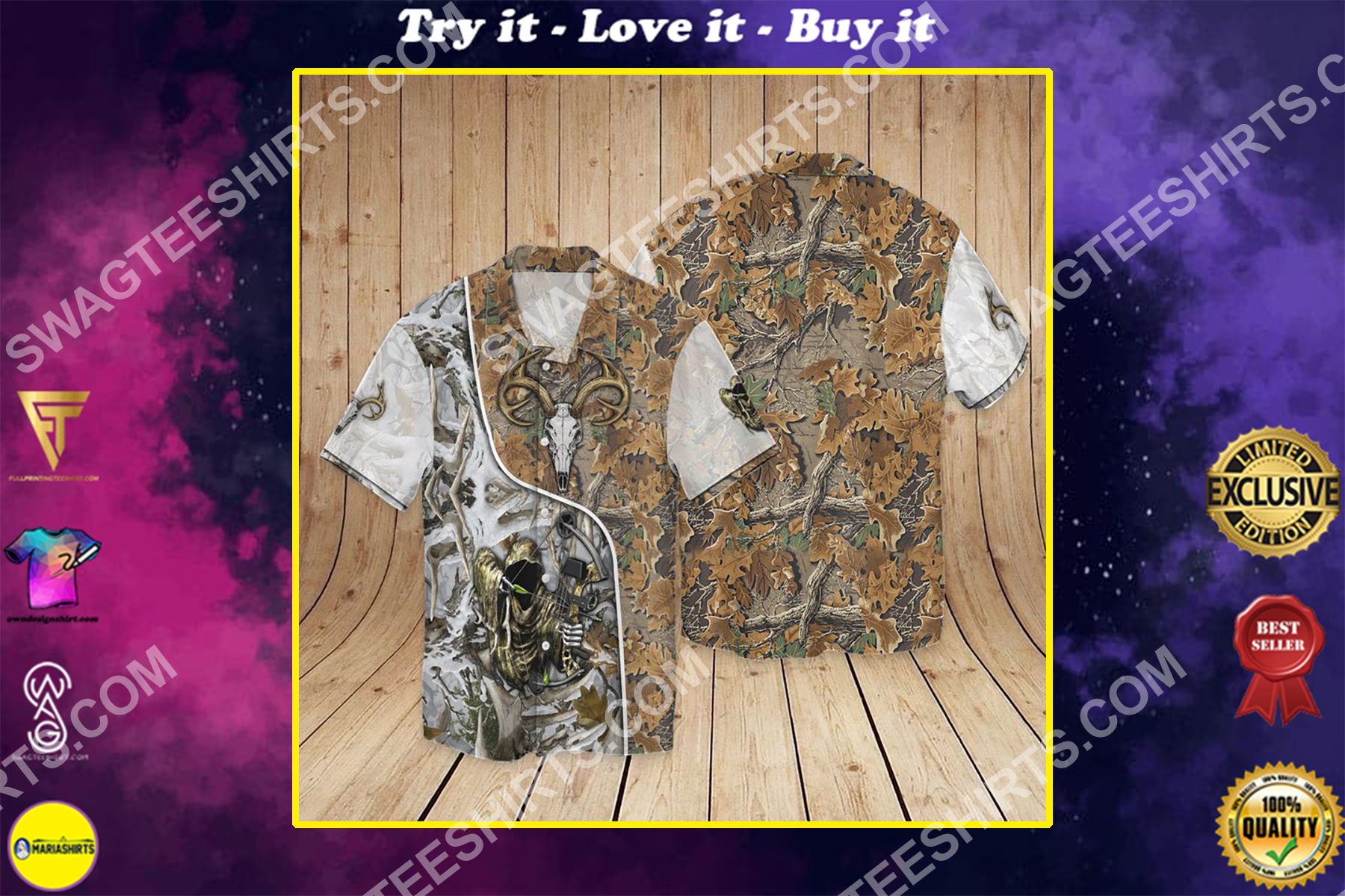 deer hunting all over printed hawaiian shirt