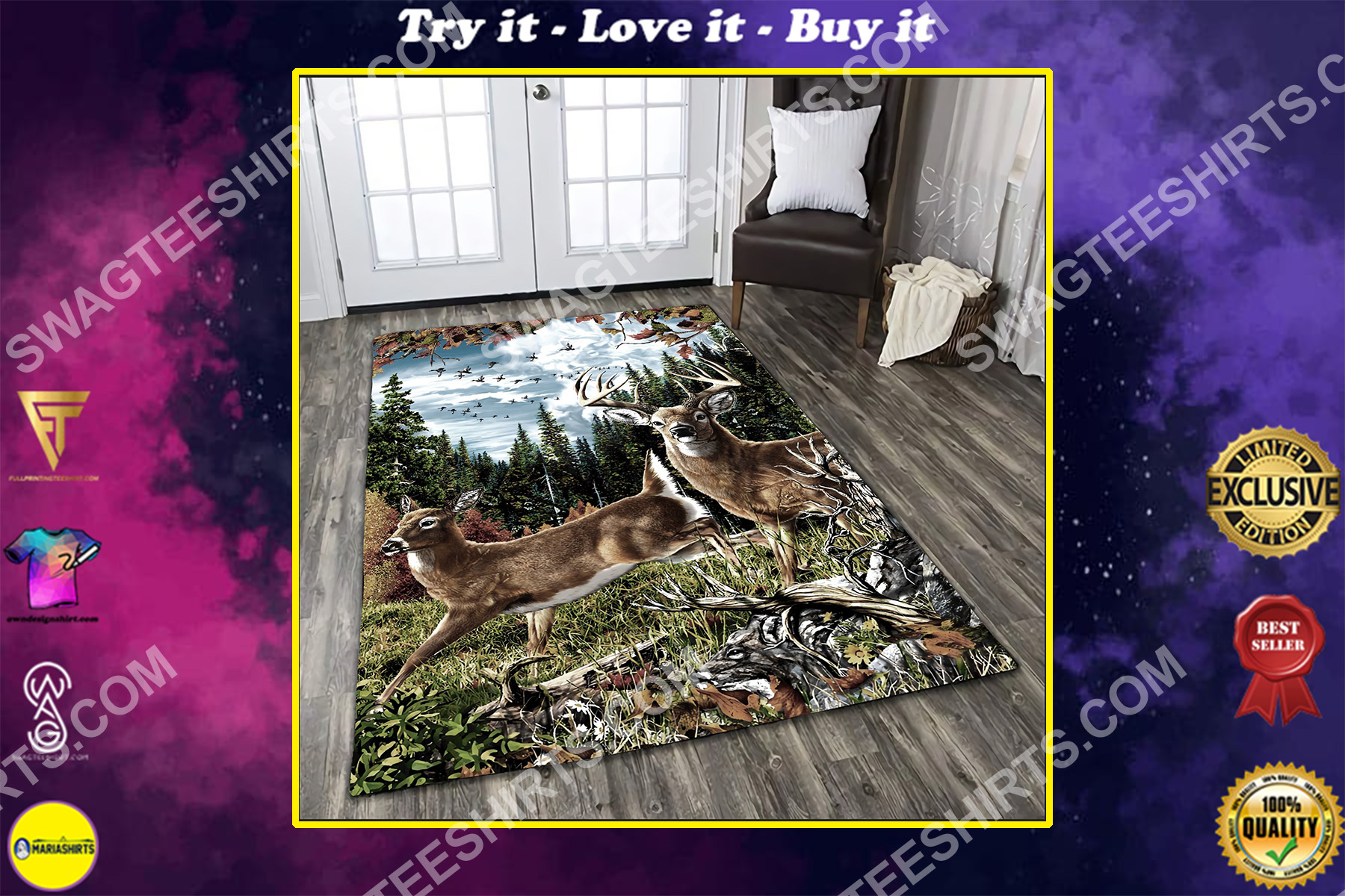 deer hunting in forest all over printed rug