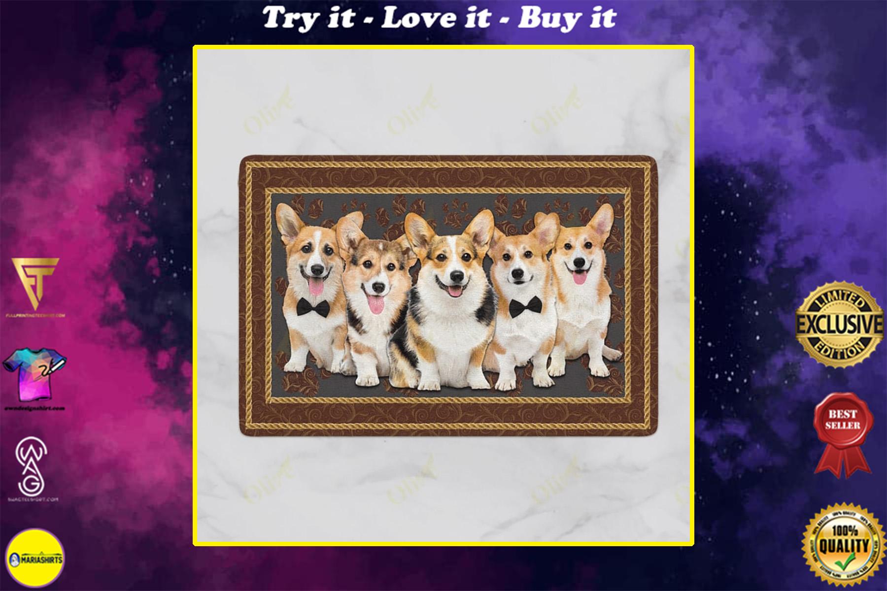dog corgi welcoming you doormat