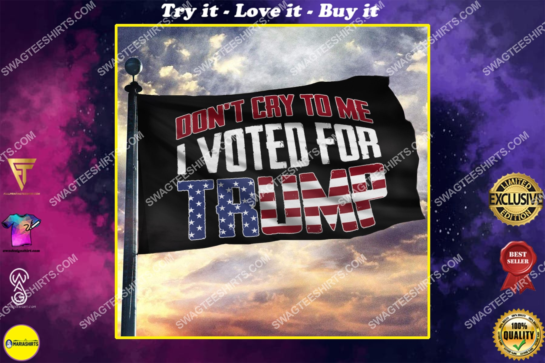 donald trump 2024 don't cry to me i voted for trump politics flag