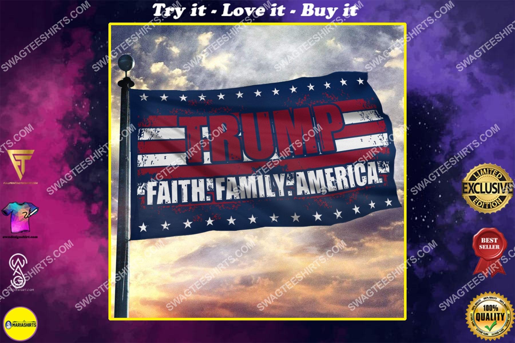 donald trump 2024 faith family america politics flag